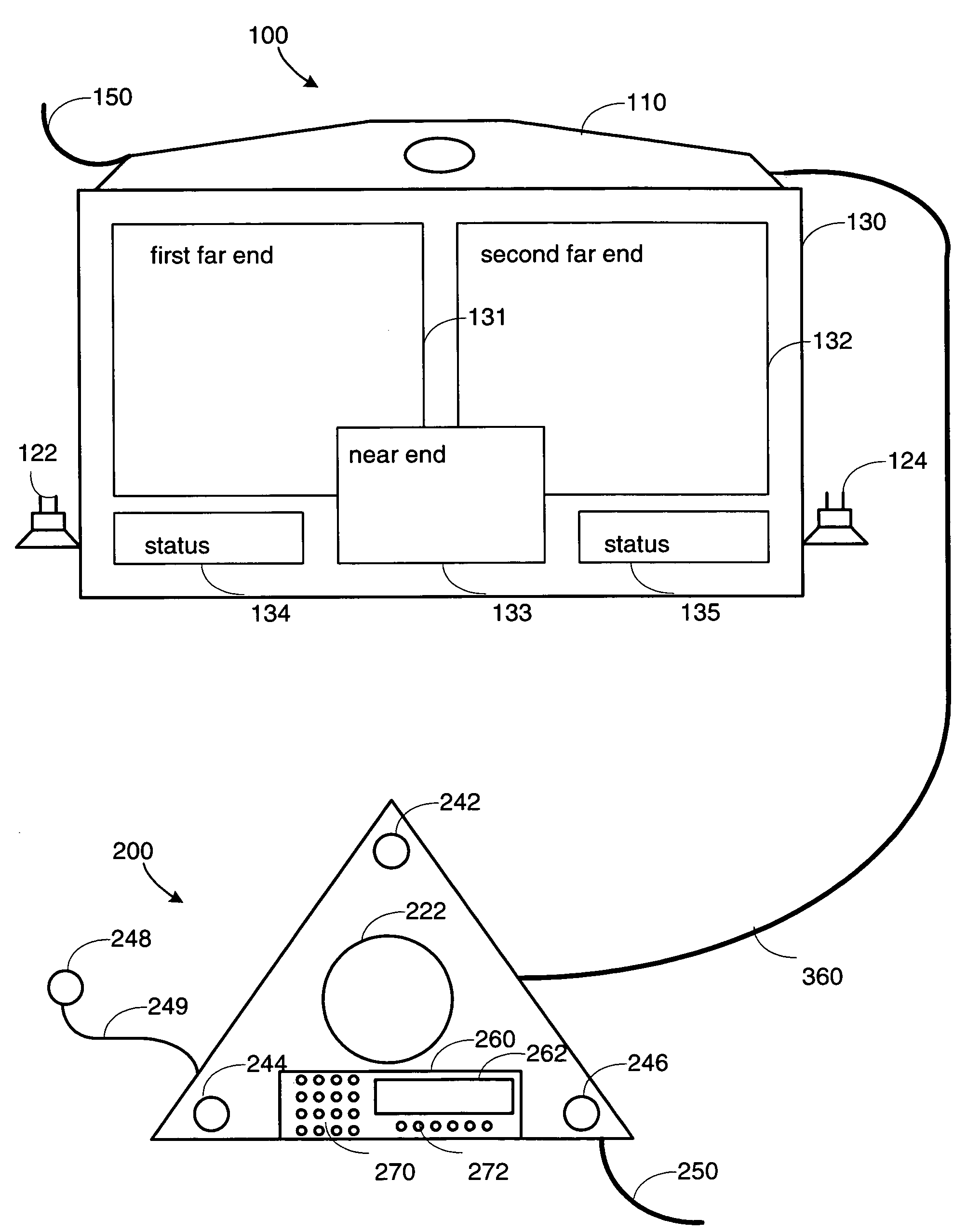 patent us conference link between a speakerphone and a patent drawing