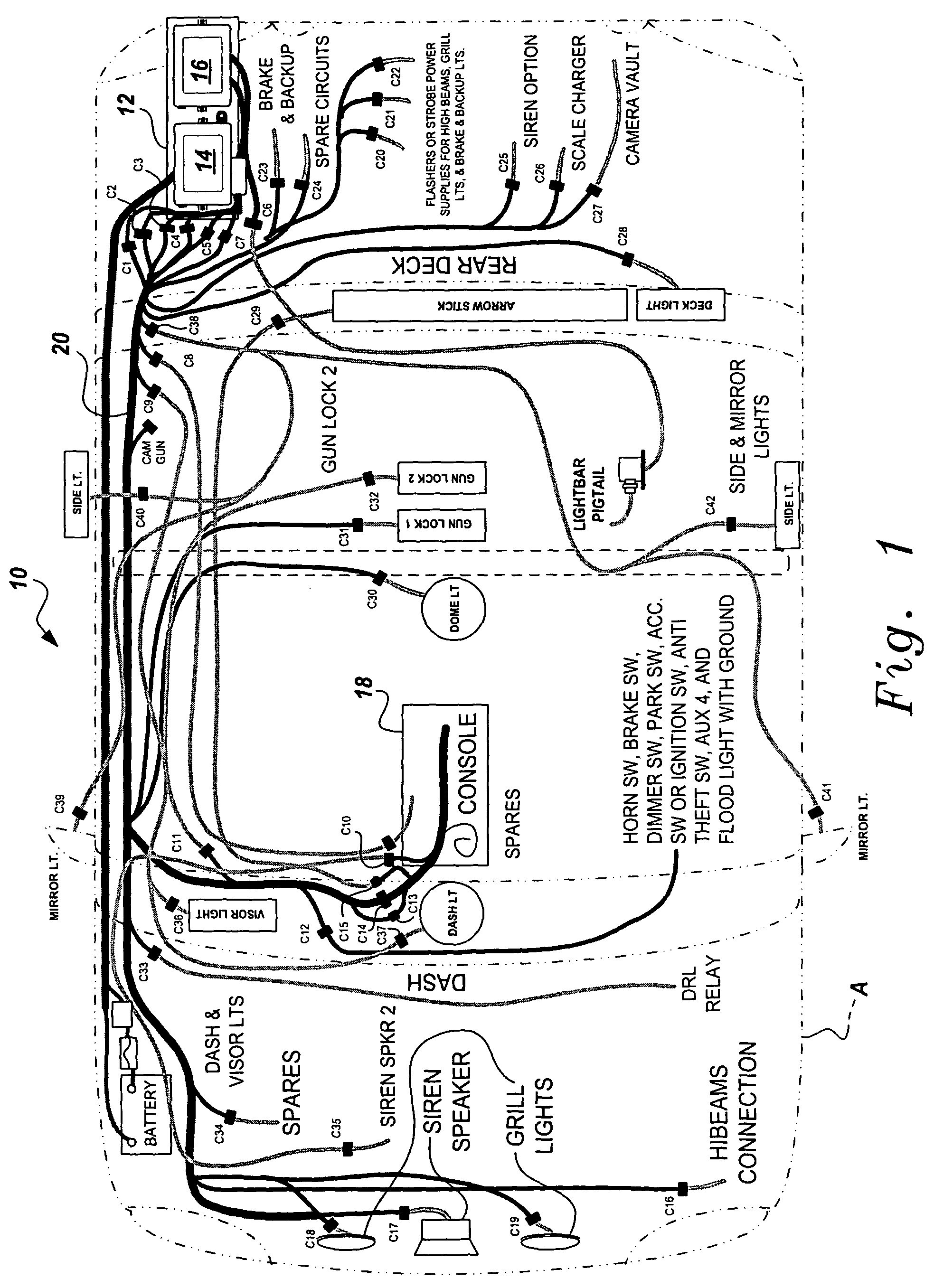 US07342325 20080311 D00001 patent us7342325 universal fleet electrical system google patents cat c15 wiring diagram at gsmx.co