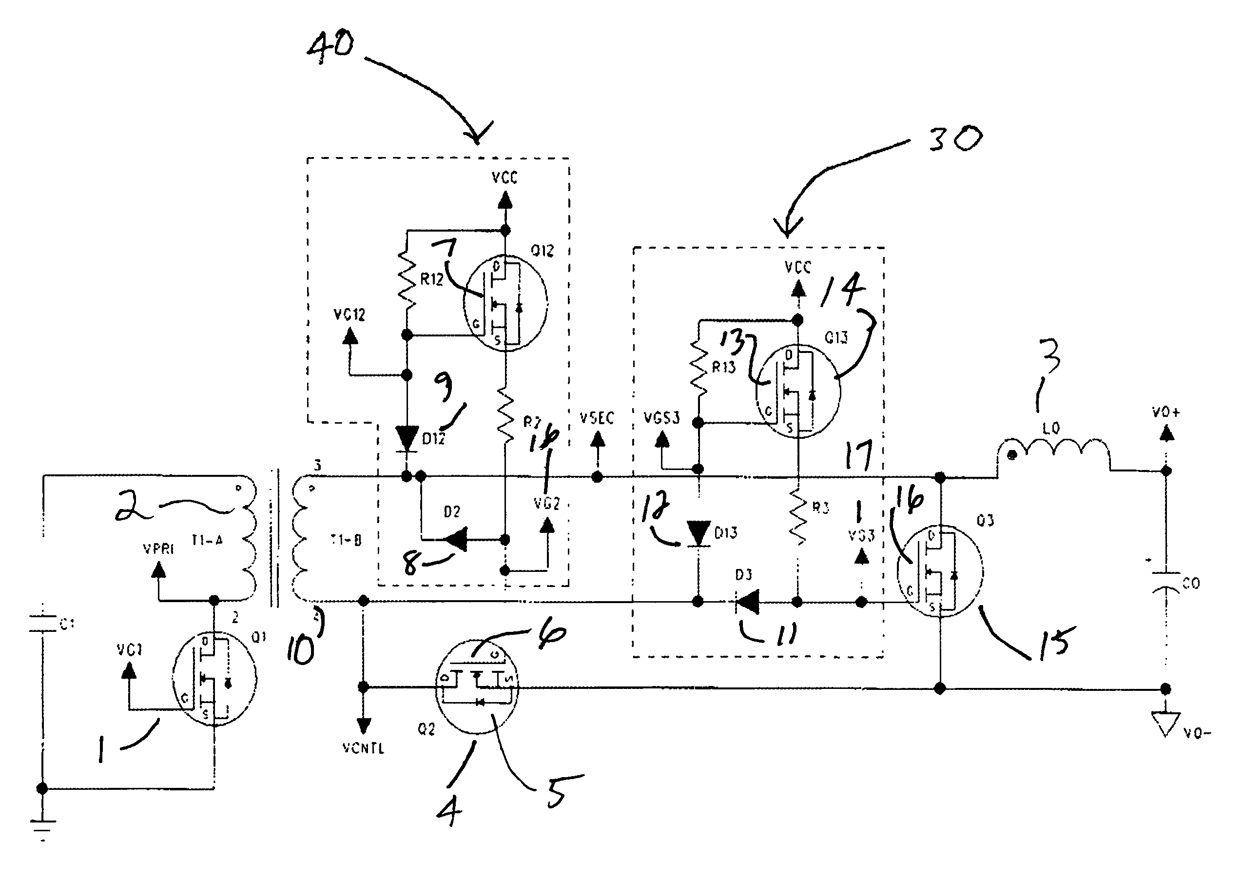patent us7375988 - self-synchronized high voltage synchronous rectifier and drive