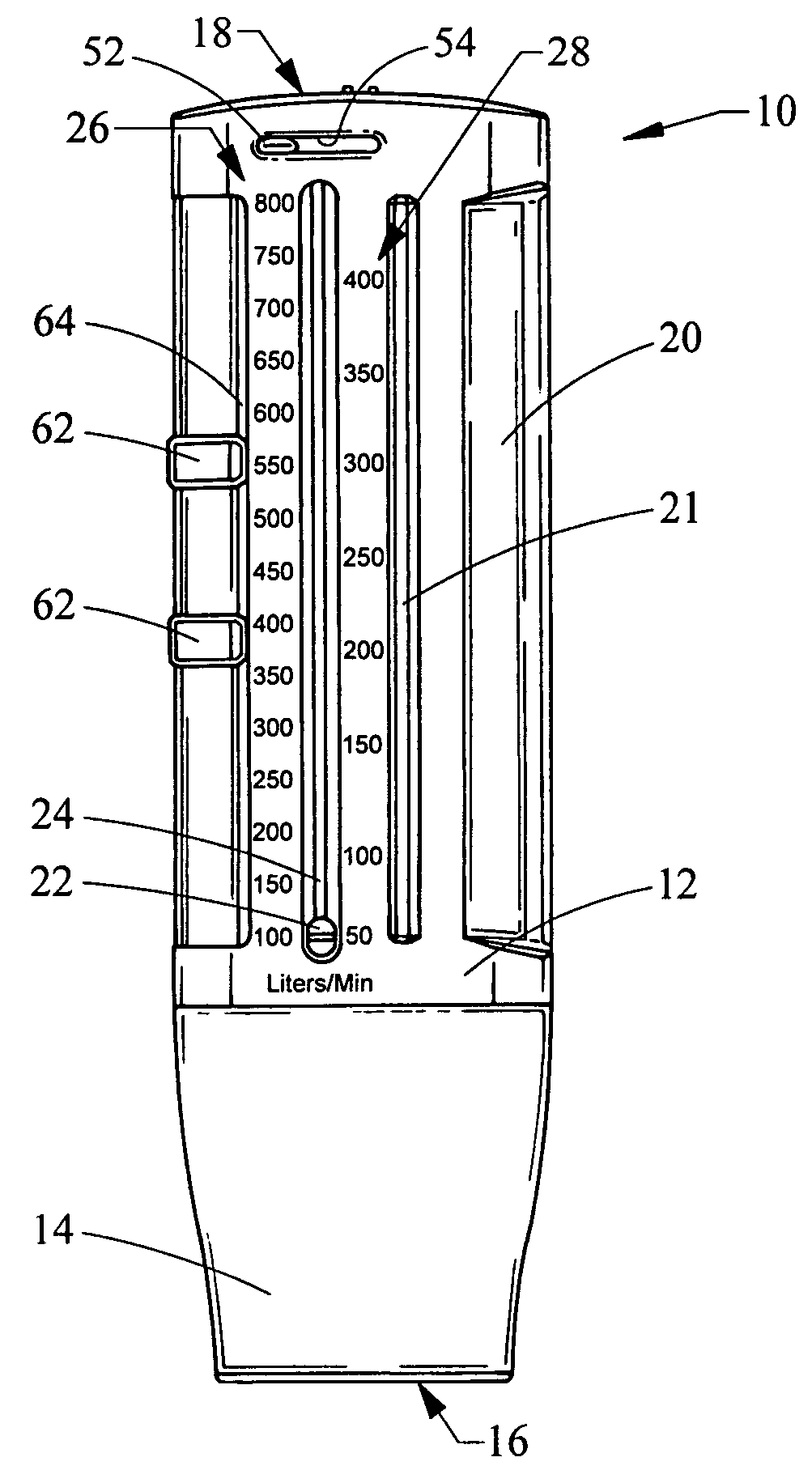 Patent US7390305 Peak flow meter Google Patents – Sample Peak Flow Chart