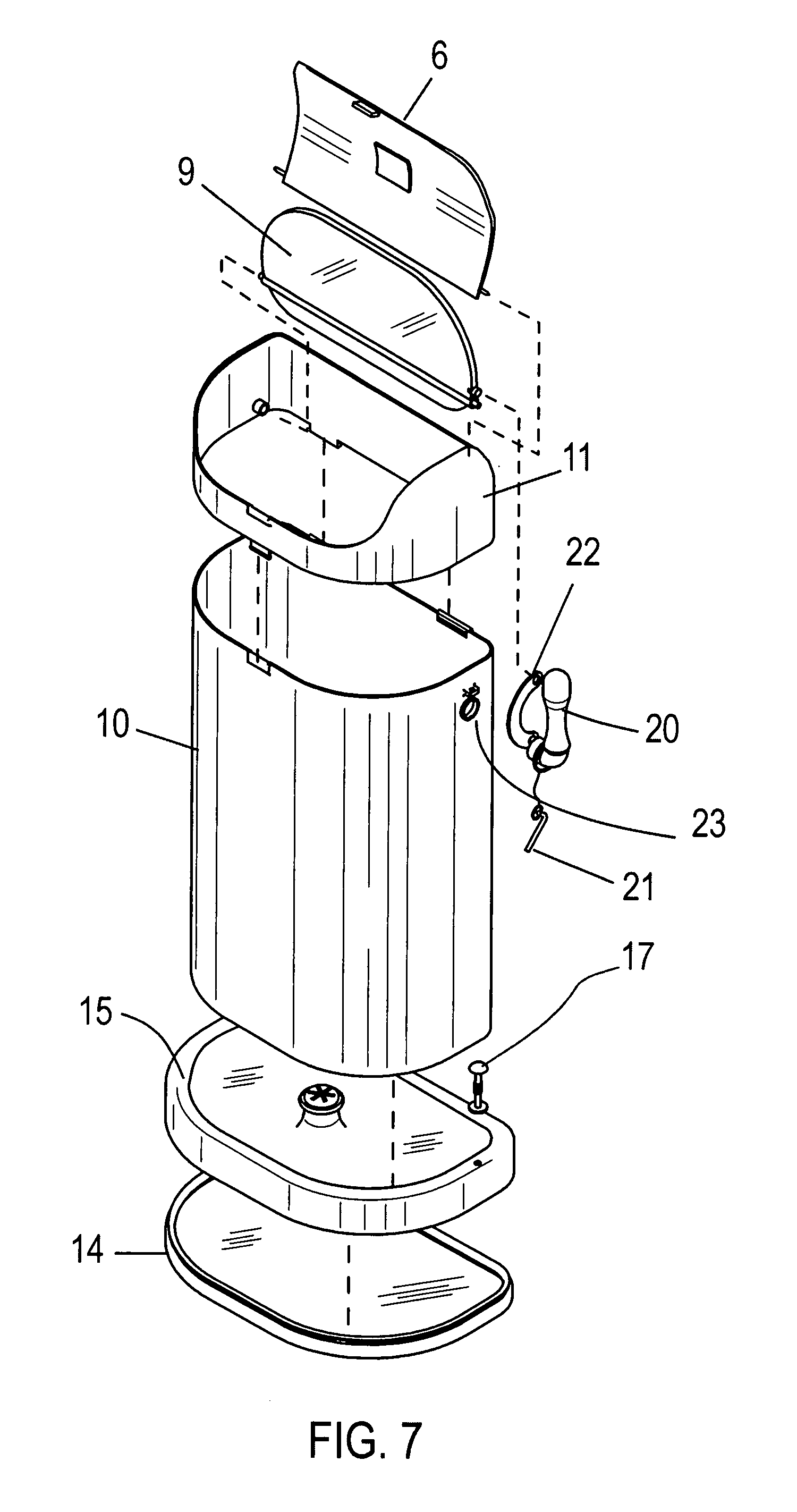 Patent Us7395990 Self Bagging Garbage Can System