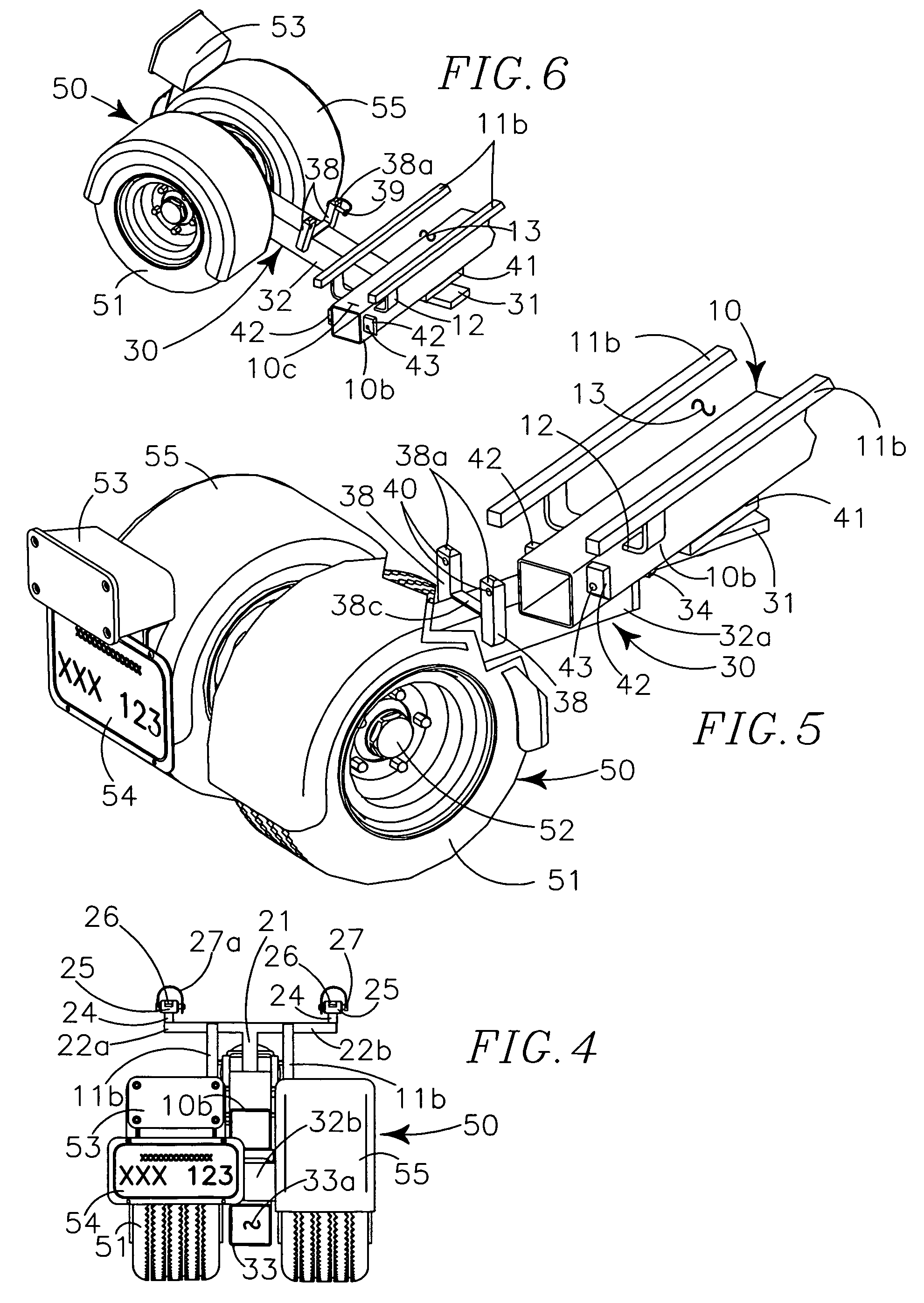 patent us7402012 - mono-beam motorcycle trailer and support assembly