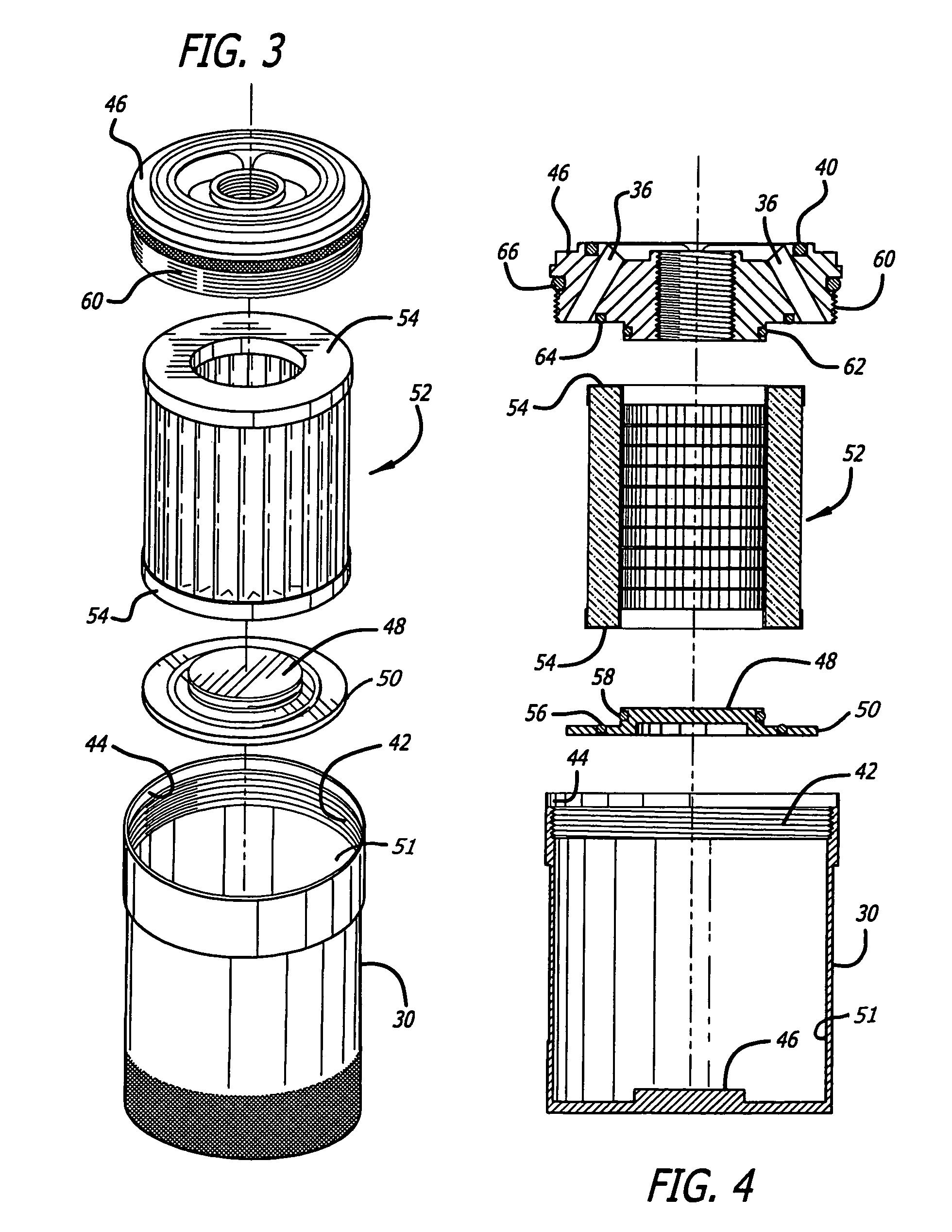 patent us7413089 - reusable cartridge oil filter