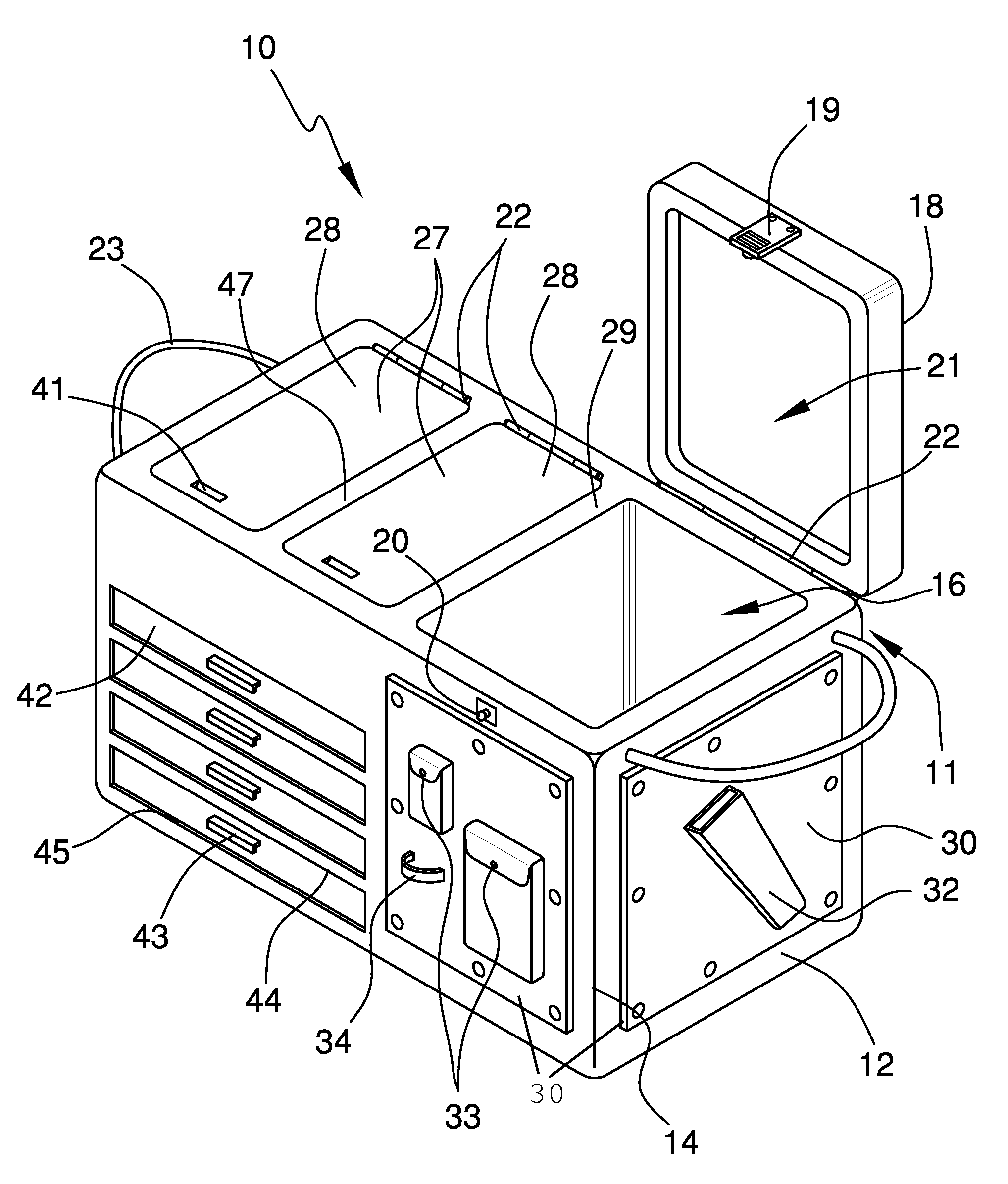 US07415794 20080826 D00000 patent us7415794 portable cooler and tackle box google patents 2001 hyundai xg300 fuse box location at fashall.co