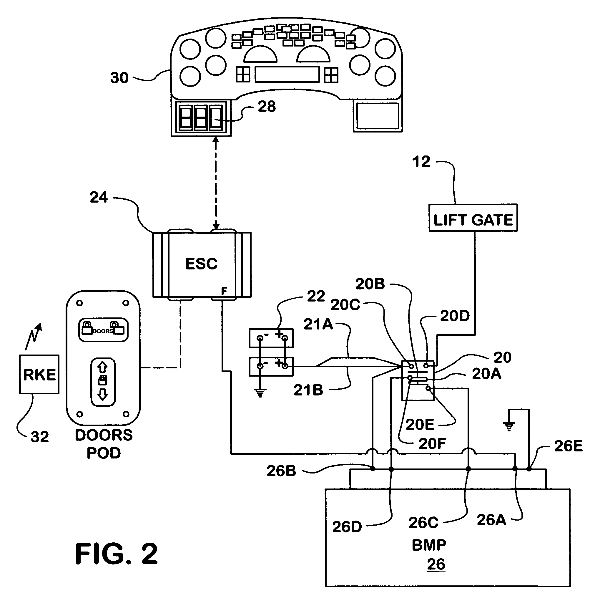 patent us7429804 - lift gate power control system