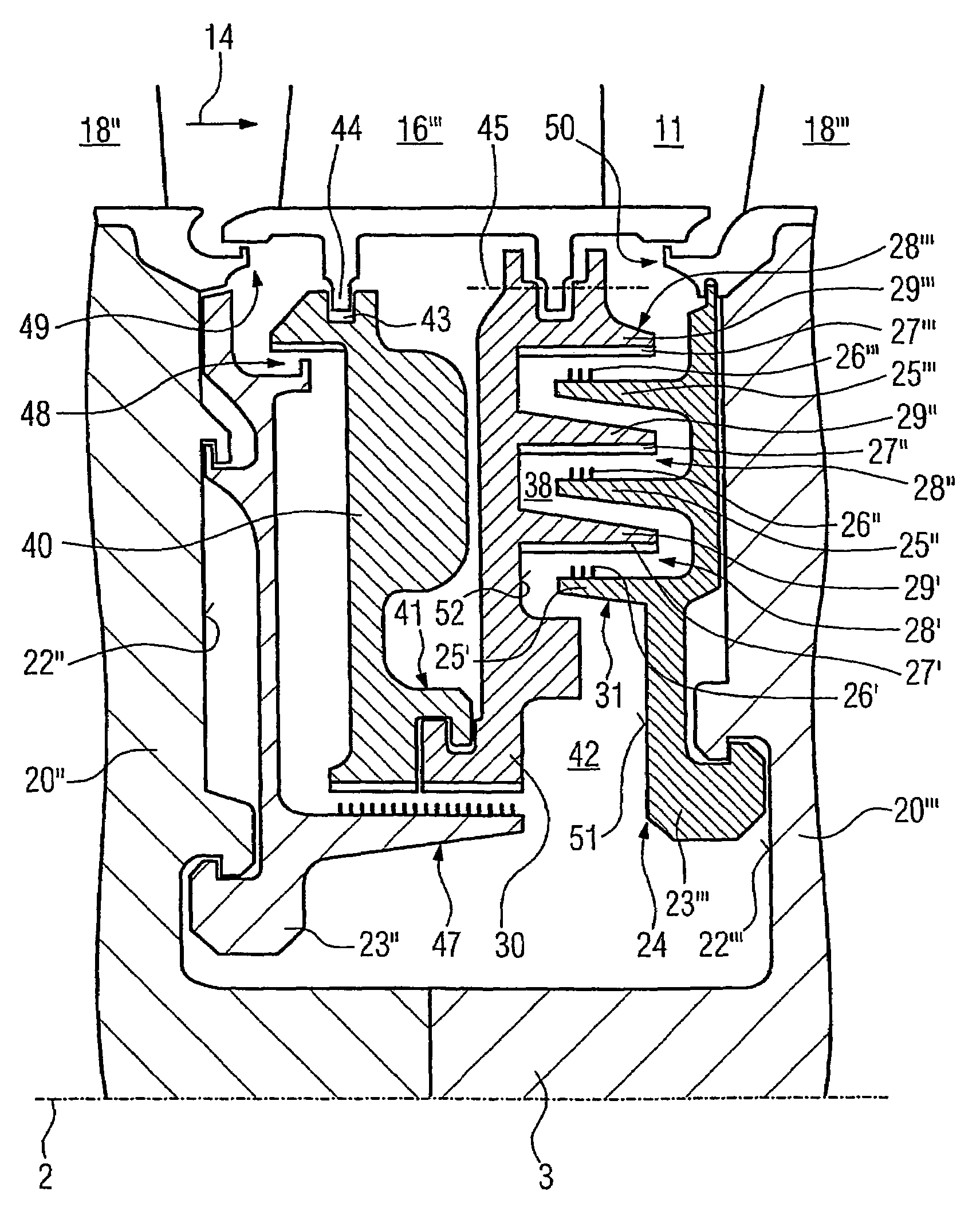 Patent US Labyrinth seal in a stationary gas turbine