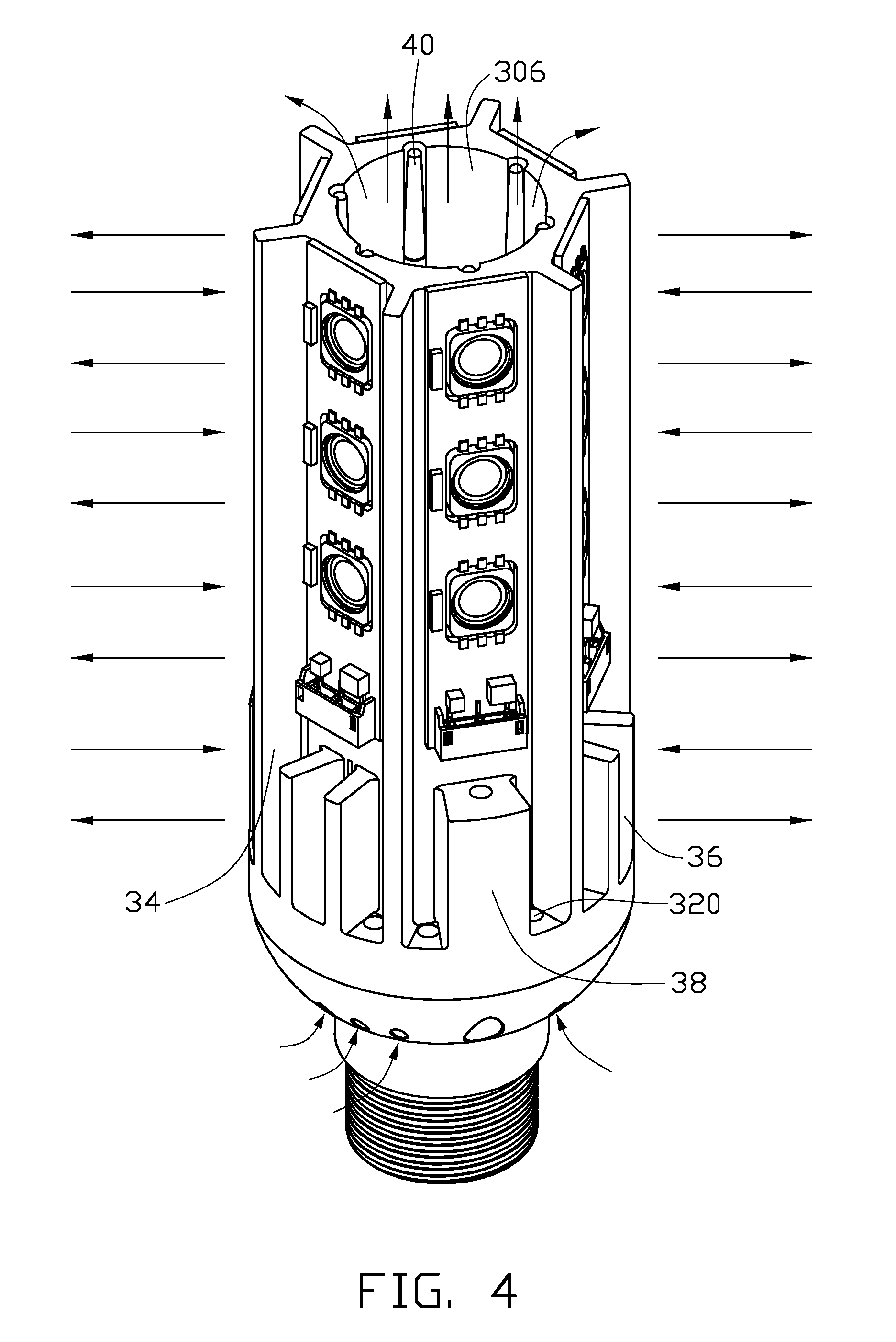 patent us7434964 - led lamp with a heat sink assembly