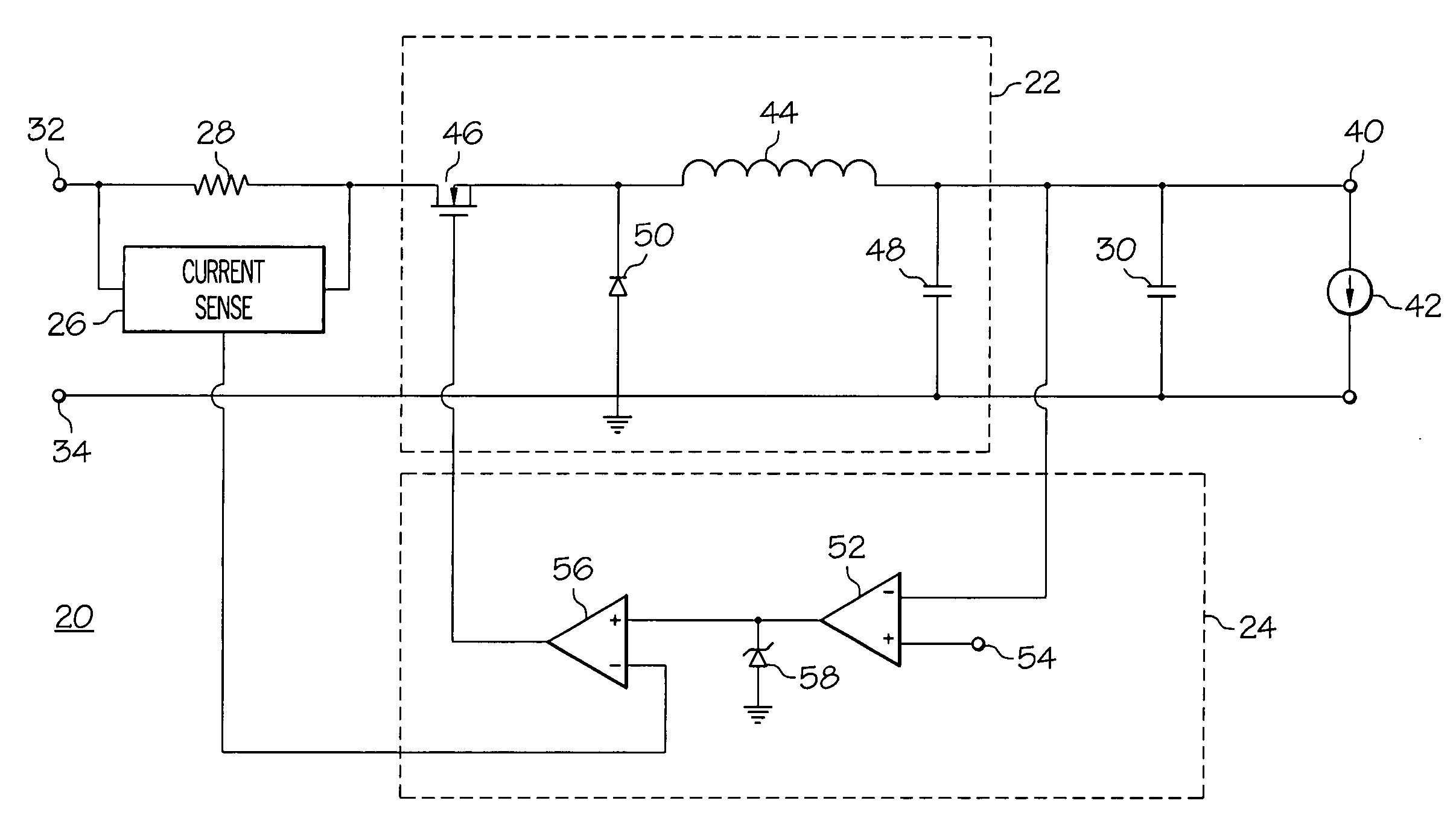 Patent Us7449870 Circuitry And Method For Limiting Peak Current Circuit Diagram Voltage Source Drawing