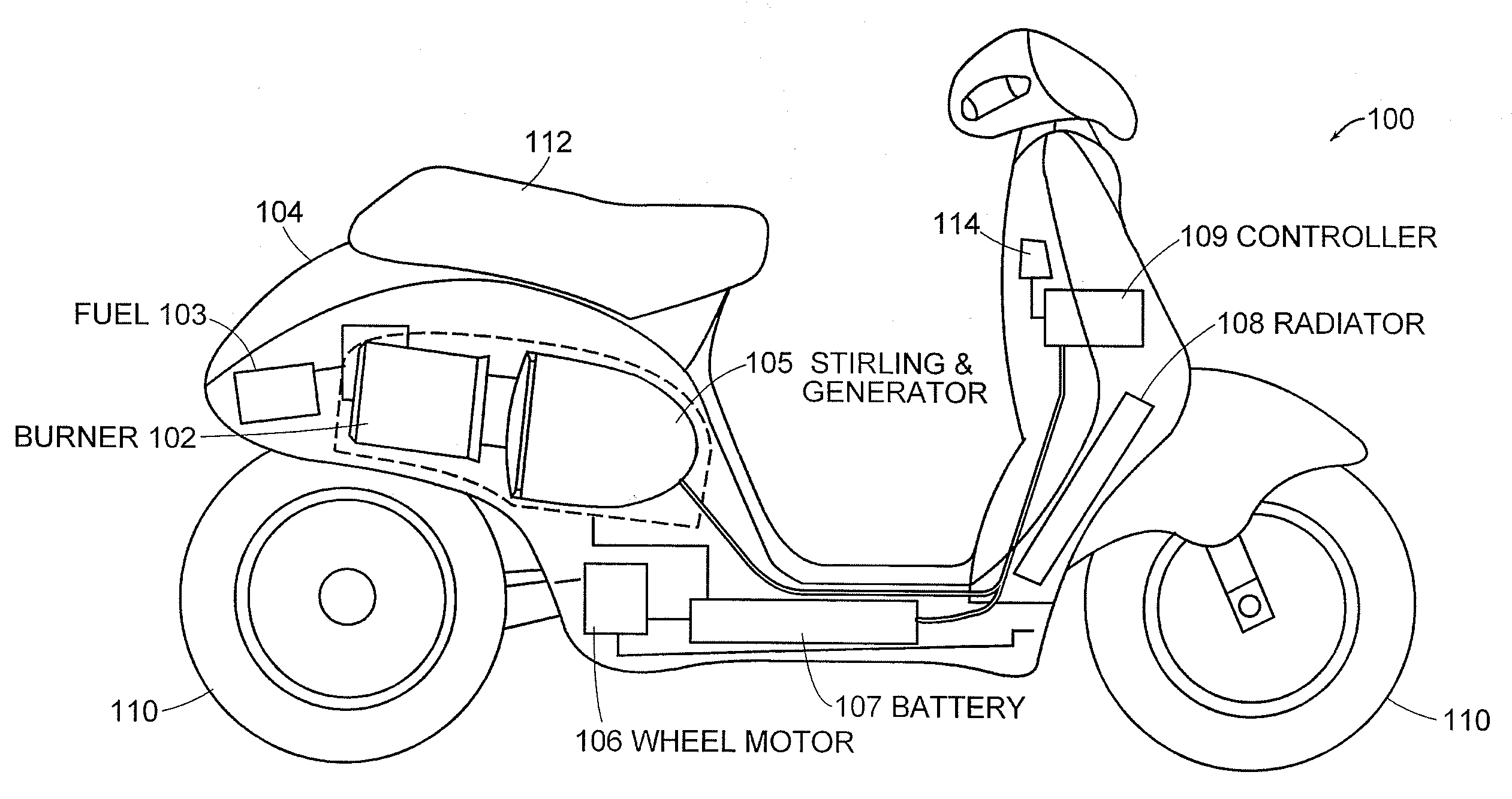 patent us7469760 hybrid electric vehicles using a stirling patent drawing