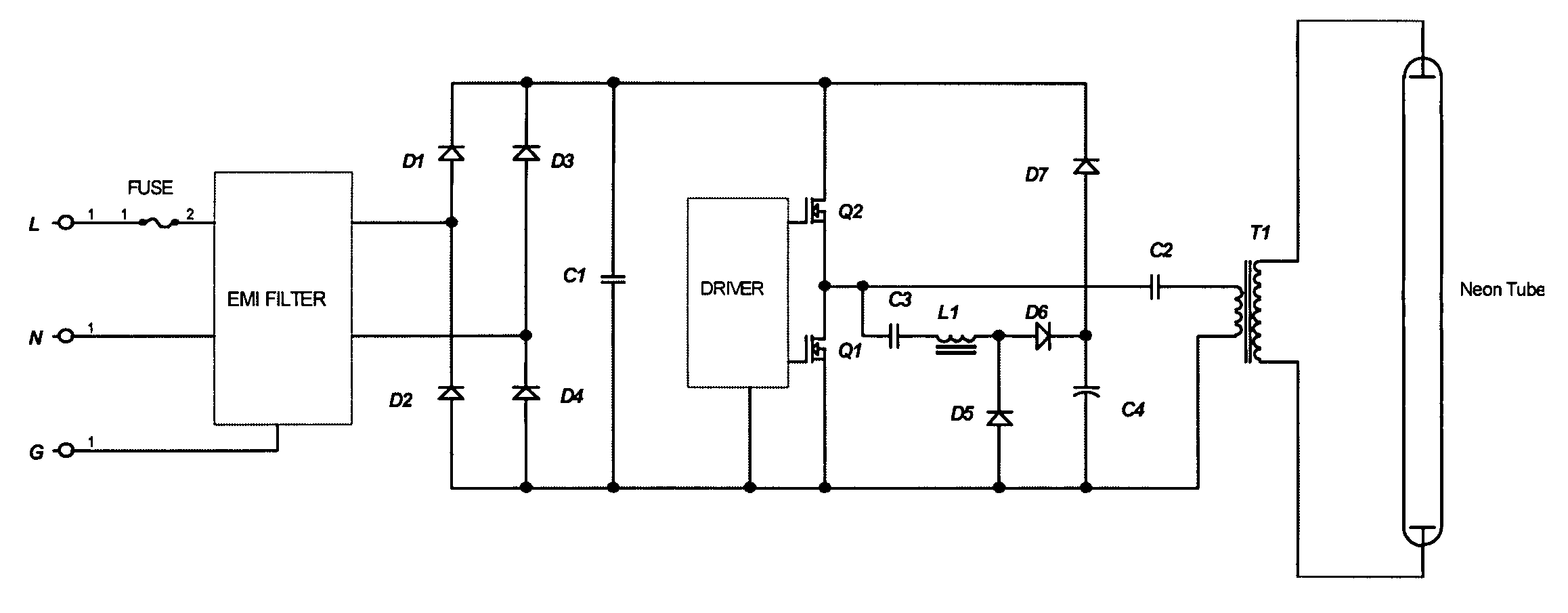 Patent Us7477021 Non Discontinuous Neon Power Supply With High Sign Transformer Schematic Drawing