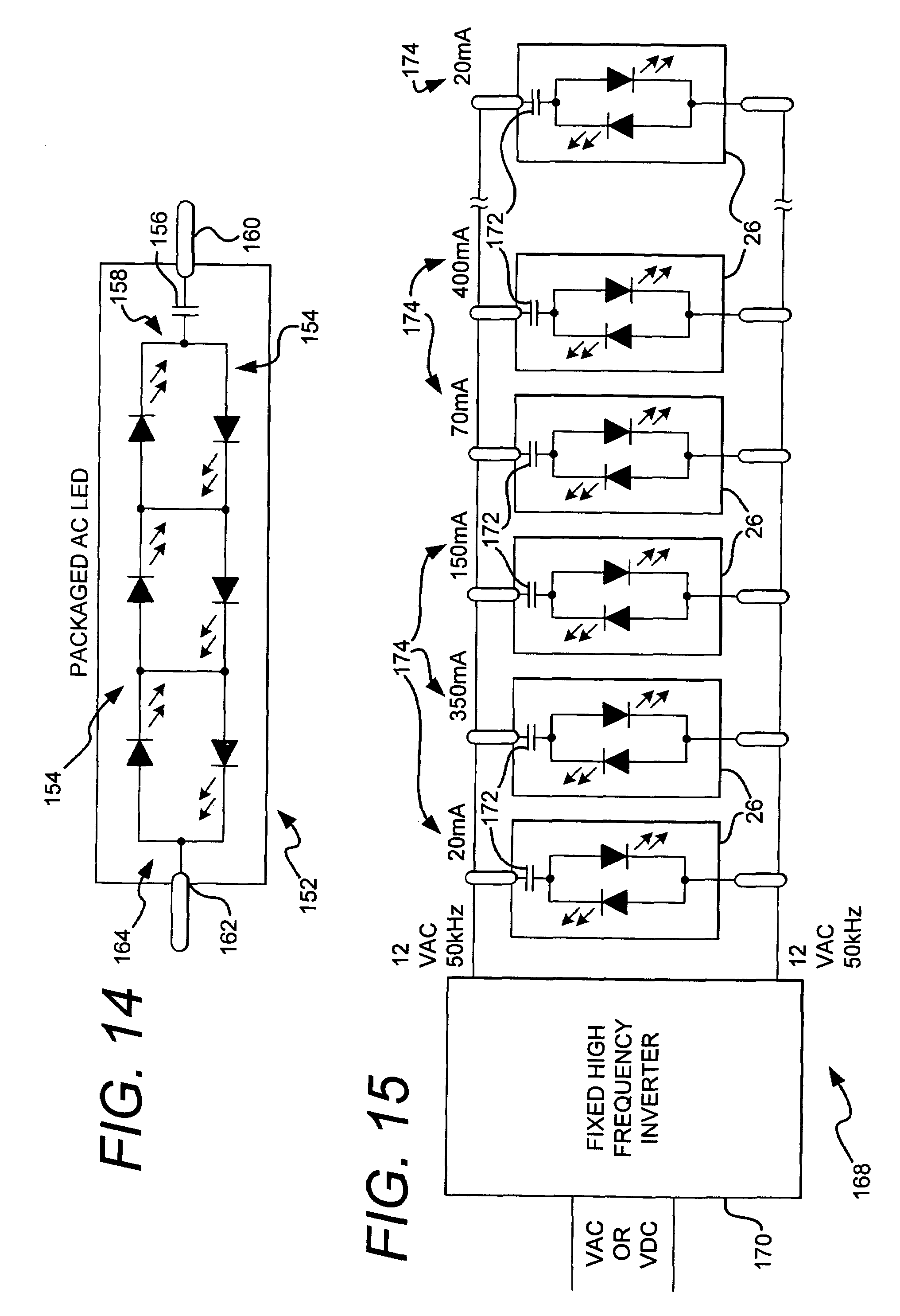 patent us7489086 - ac light emitting diode and ac led drive methods and apparatus
