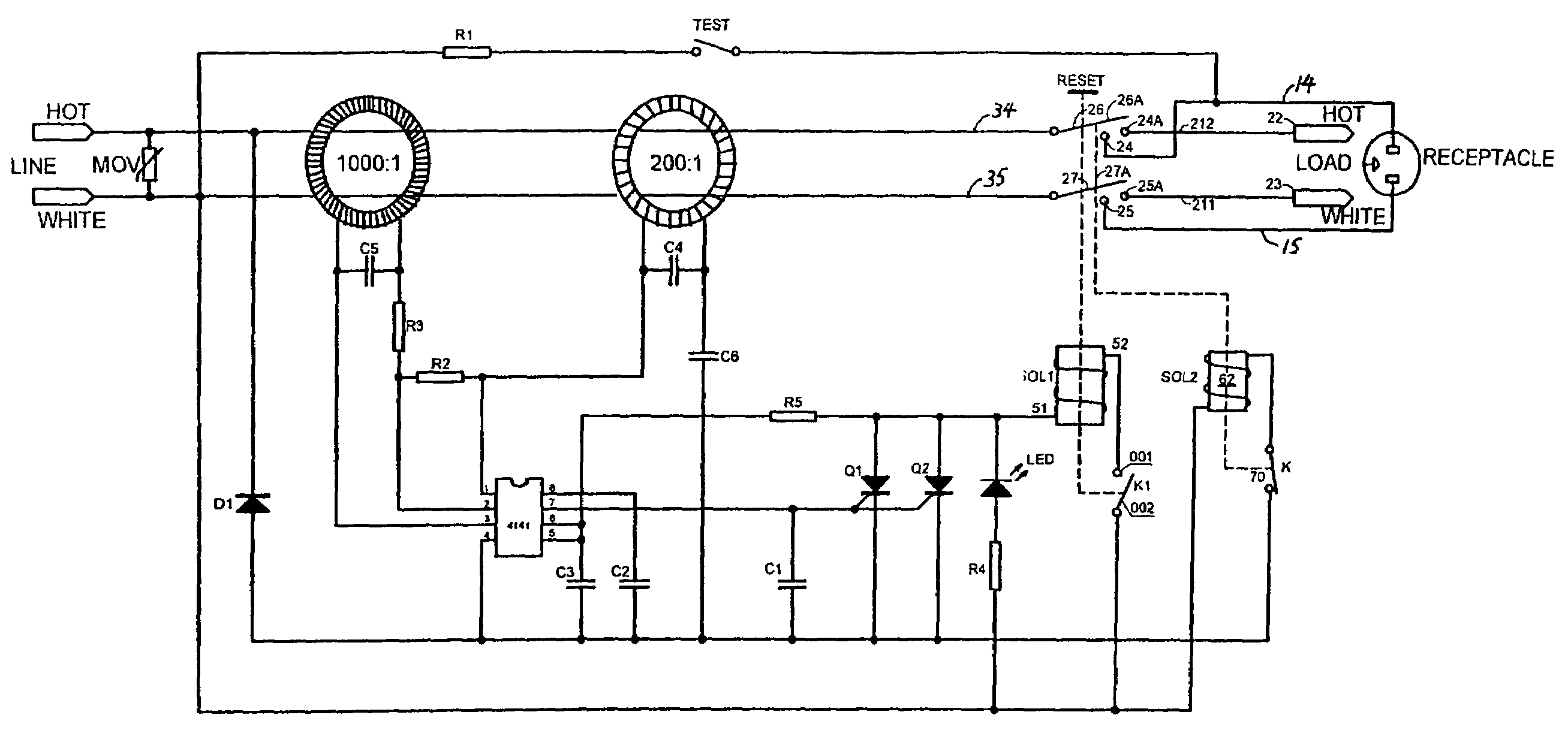 patent us7498909 - ground-fault circuit interrupter with reverse wiring protection