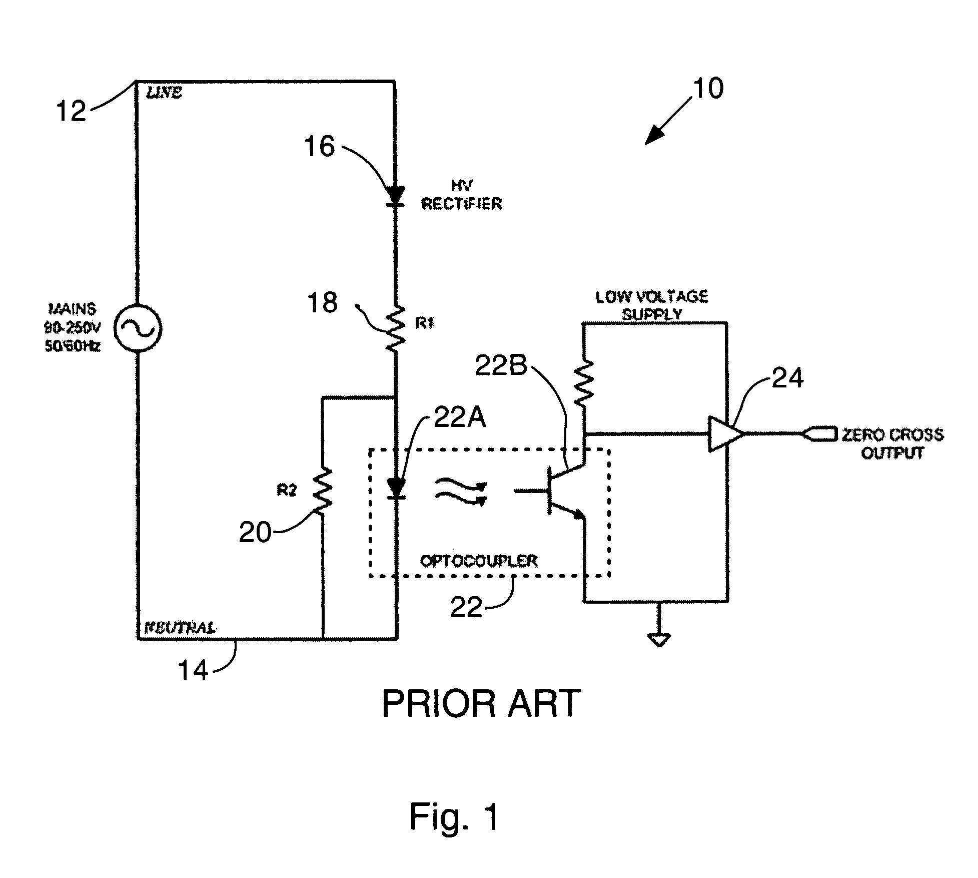 patent us7508240 - power mains zero-crossing detector