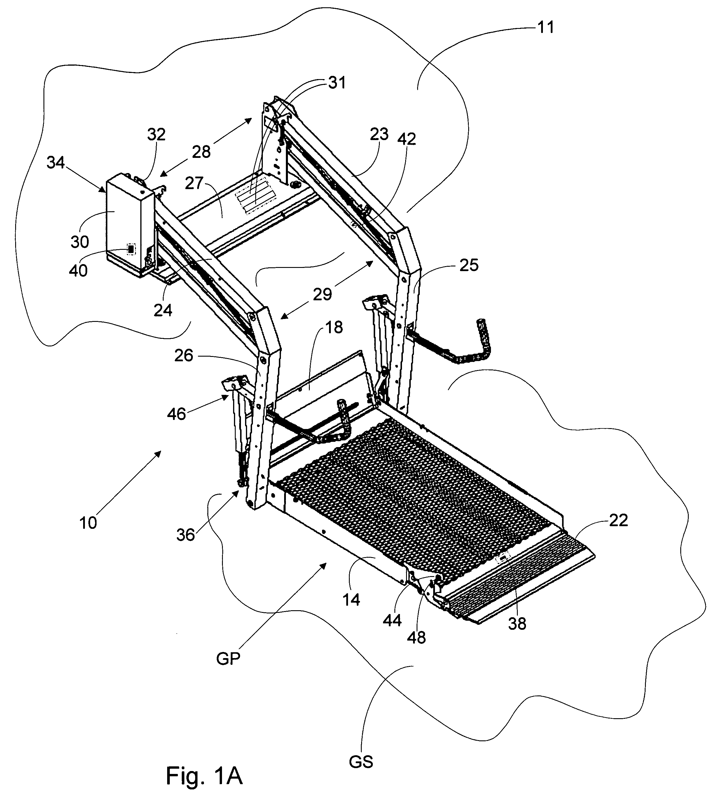 patent us7509187 - wheelchair lift with a rotary sensor used to determine lift position