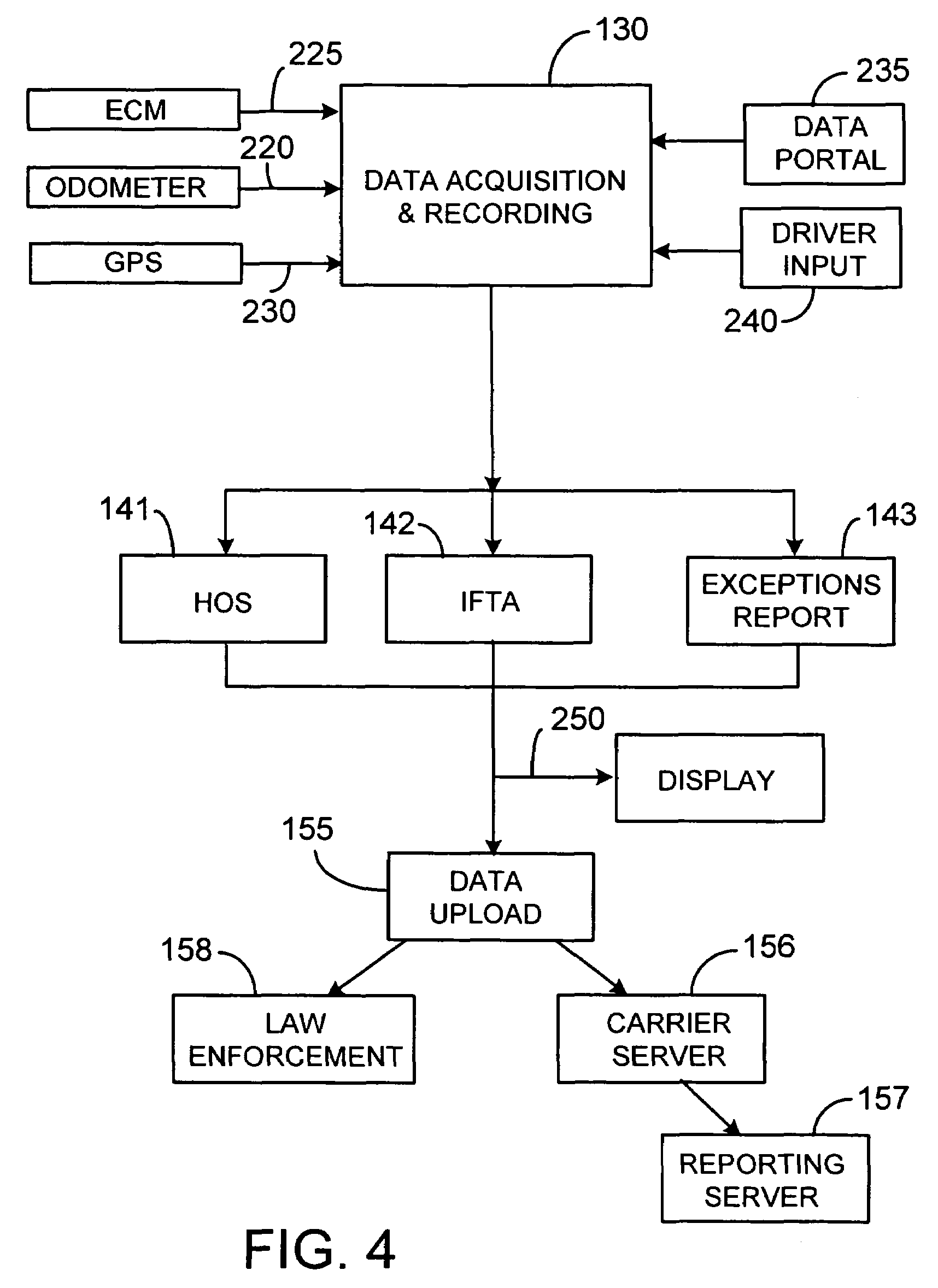 patent us7555378 driver activity and vehicle operation logging patent drawing