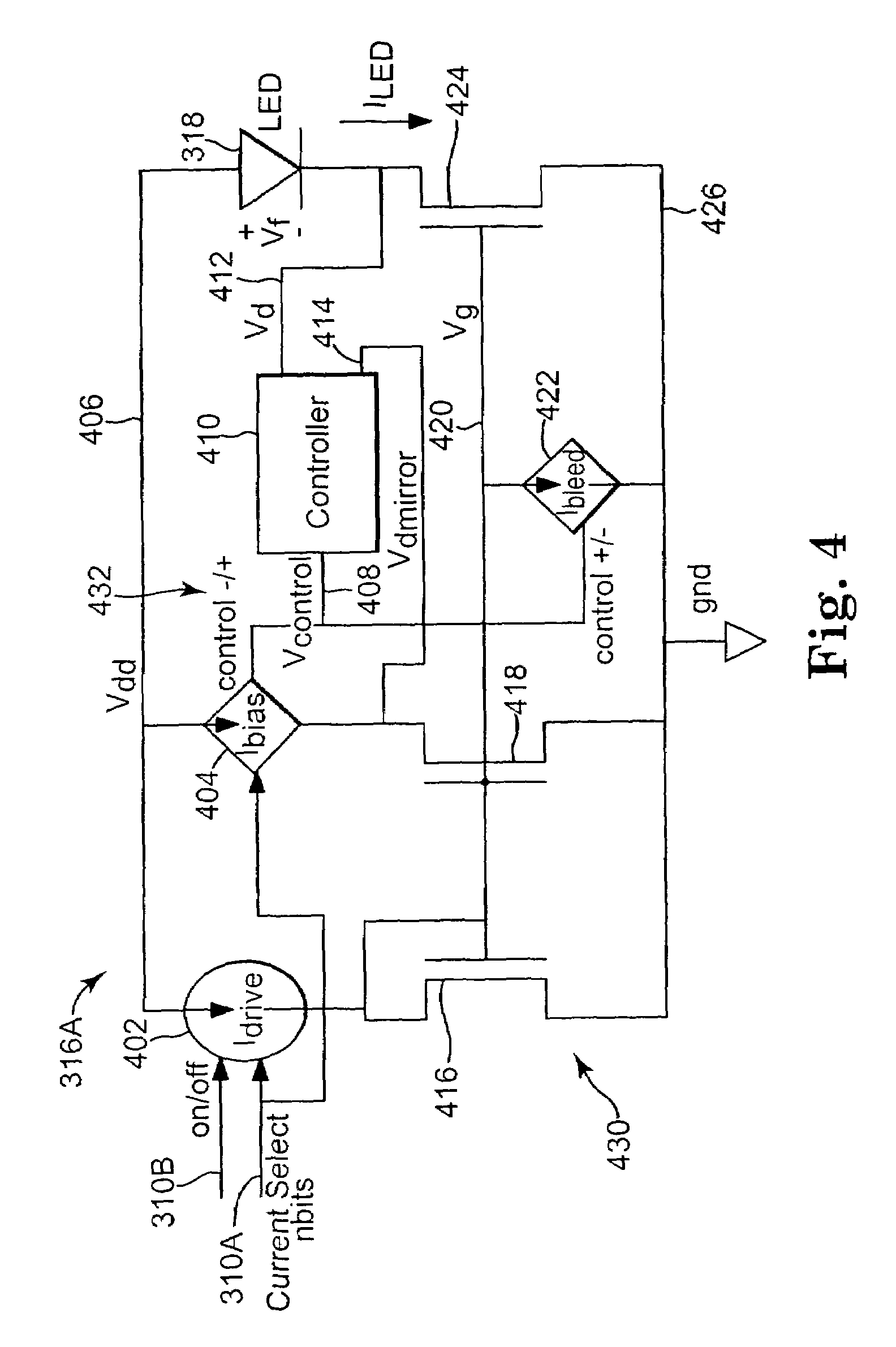 Patent Us7557332 Driver Circuit For Driving A Light Source Of An Current Led With 2 Bjt S Drawing