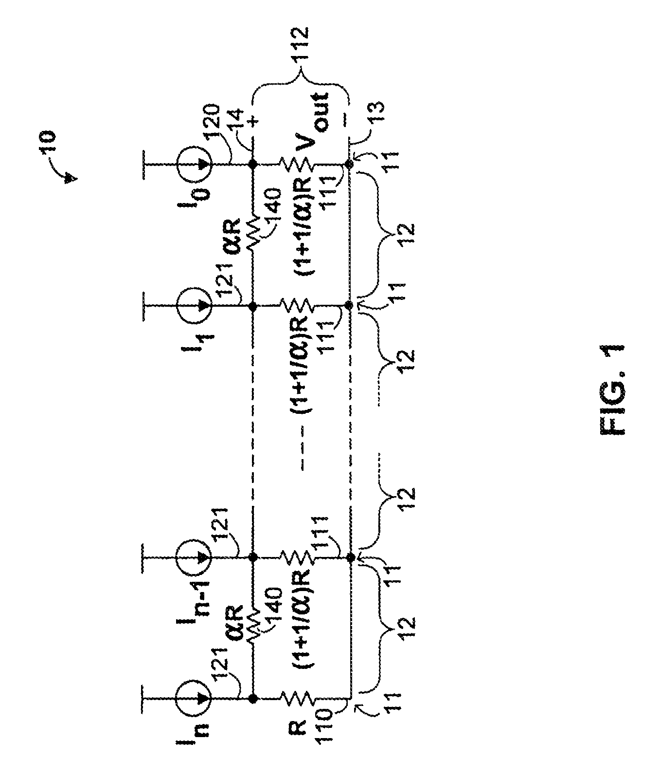 geometric ladder circuit with linear-in-db transfer function