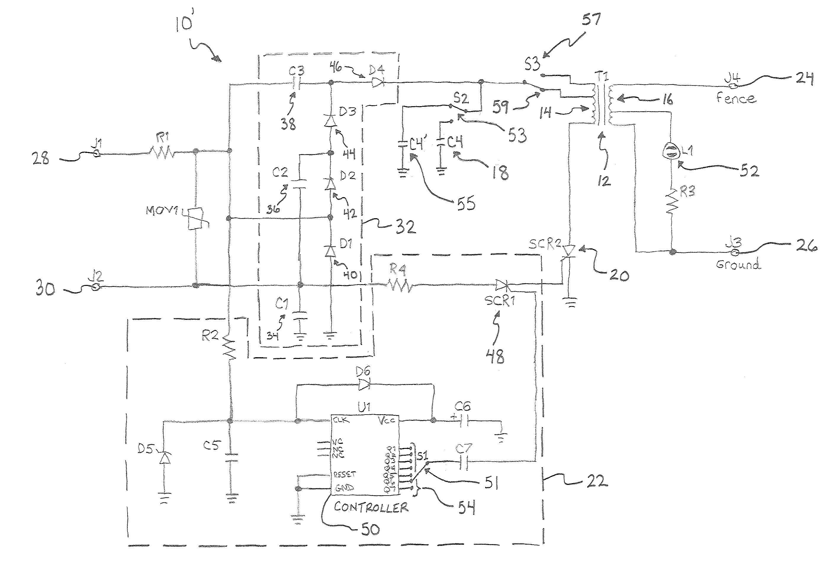 US07582988 20090901 D00000 patent us7582988 lethal electric fence energizer google patents Electric Fence Circuit Diagram at mifinder.co