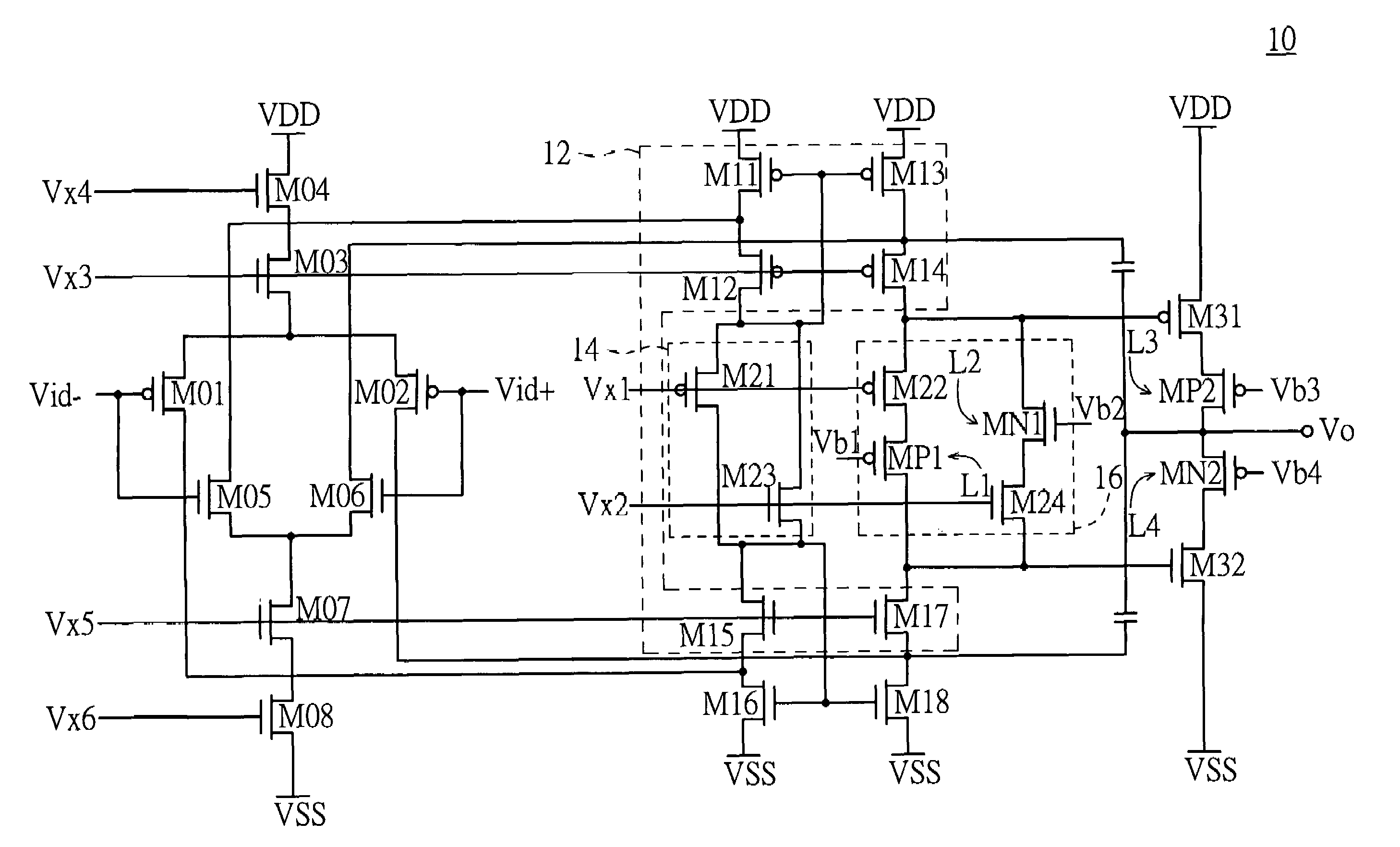 Patent Us7595690 Voltage Clamping Device And Operational Amplifier Rail To Output Differential Drawing