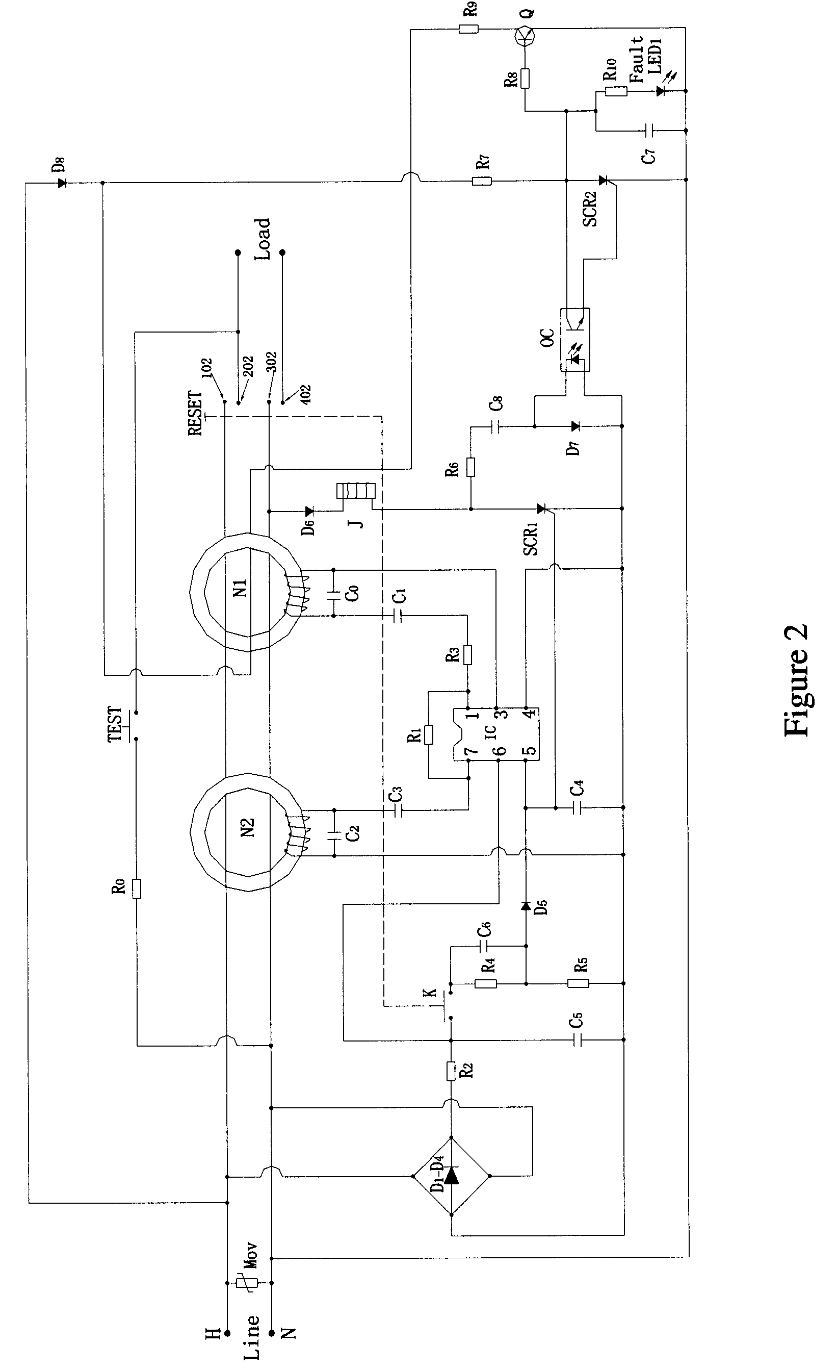 US07626788 20091201 D00002 patent us7626788 control circuit of ground fault circuit,Wiring A Gfci Circuit