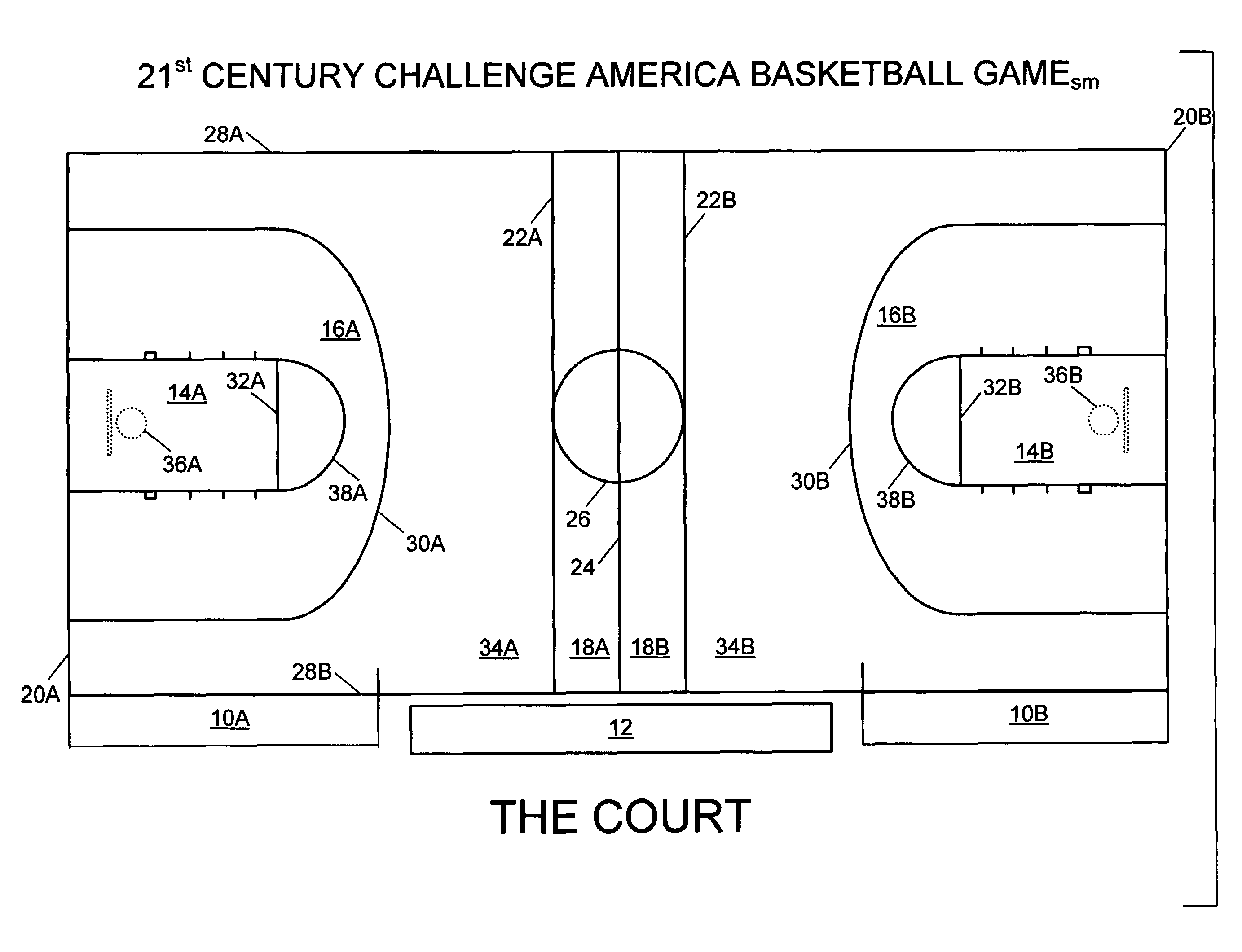 Basketball 12 Court Dimensions Patent Drawing