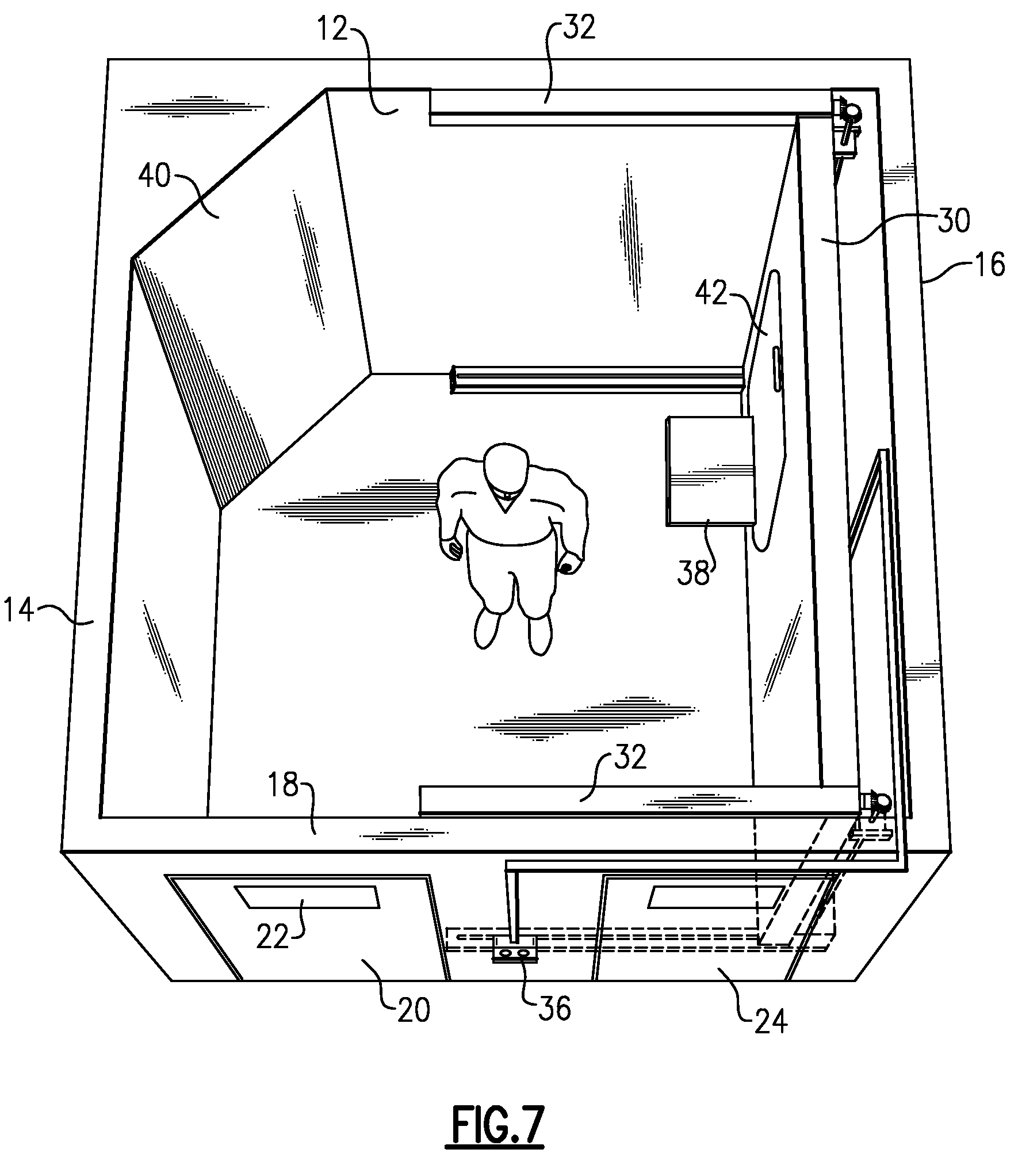 Patent US7644543 Seclusion Room With Movable Wall