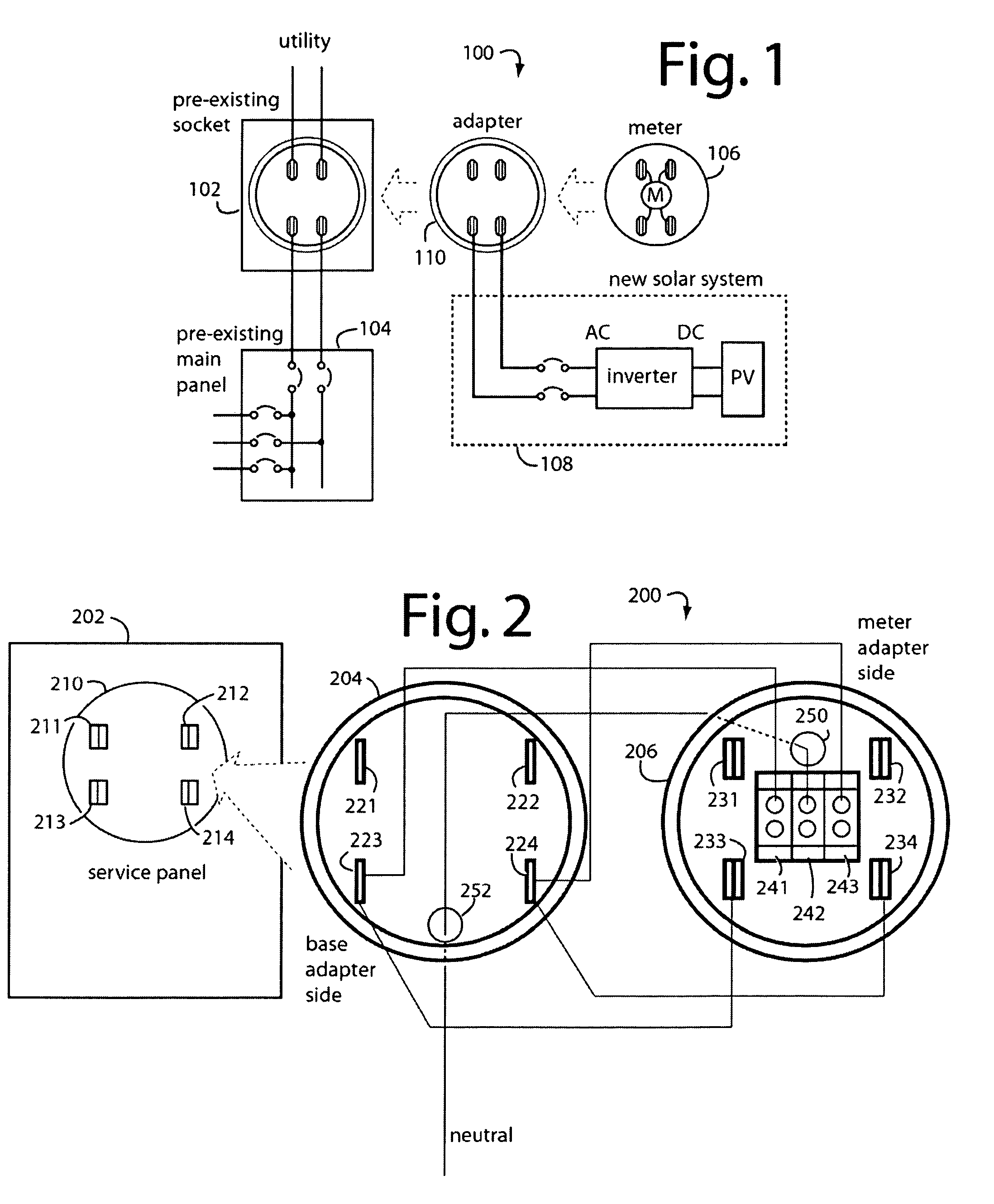 US07648389 20100119 D00001 patent us7648389 supply side backfeed meter socket adapter Single Phase Meter Wiring Diagram at soozxer.org
