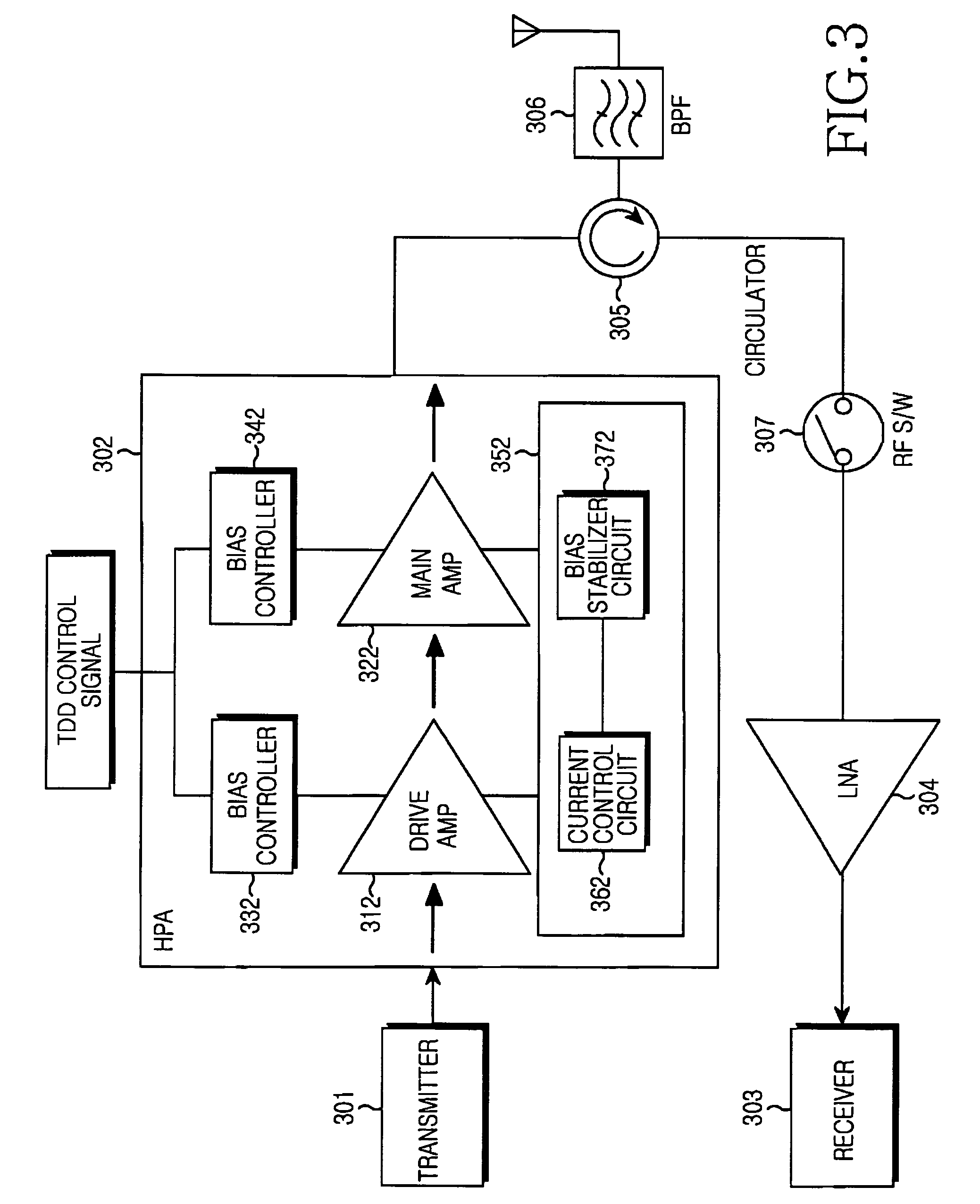 patent us7660564 - high-power amplifier apparatus for tdd wireless communication system