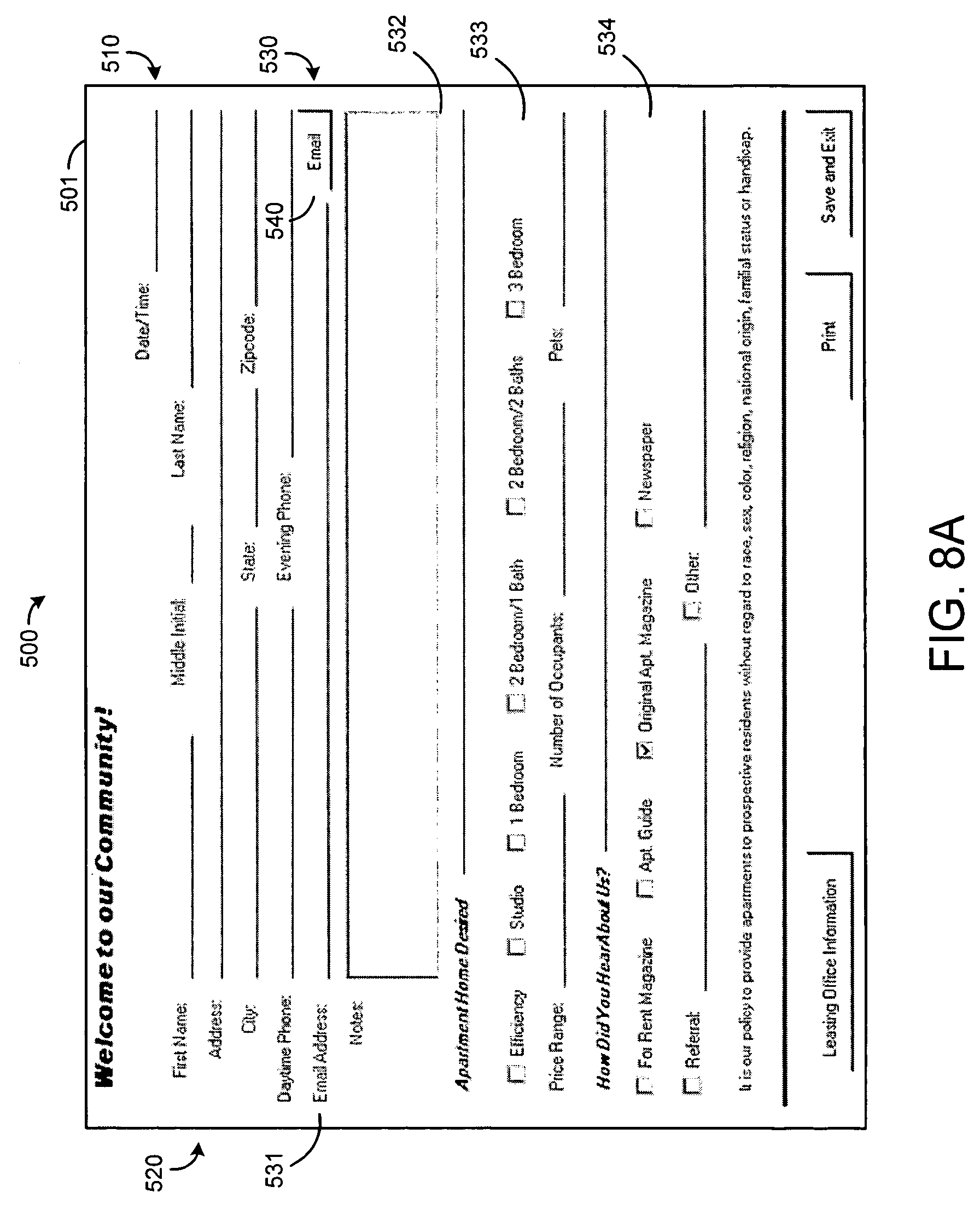 Patent US7684550 Customer information system Google Patents – Guest Card Template