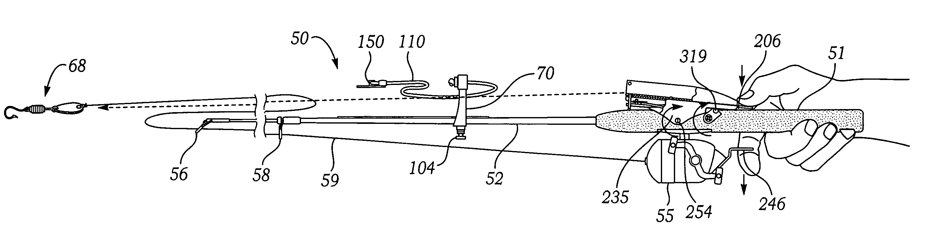 Patent us7698851 fishing rod with elastic sling bait for Fishing bait launcher