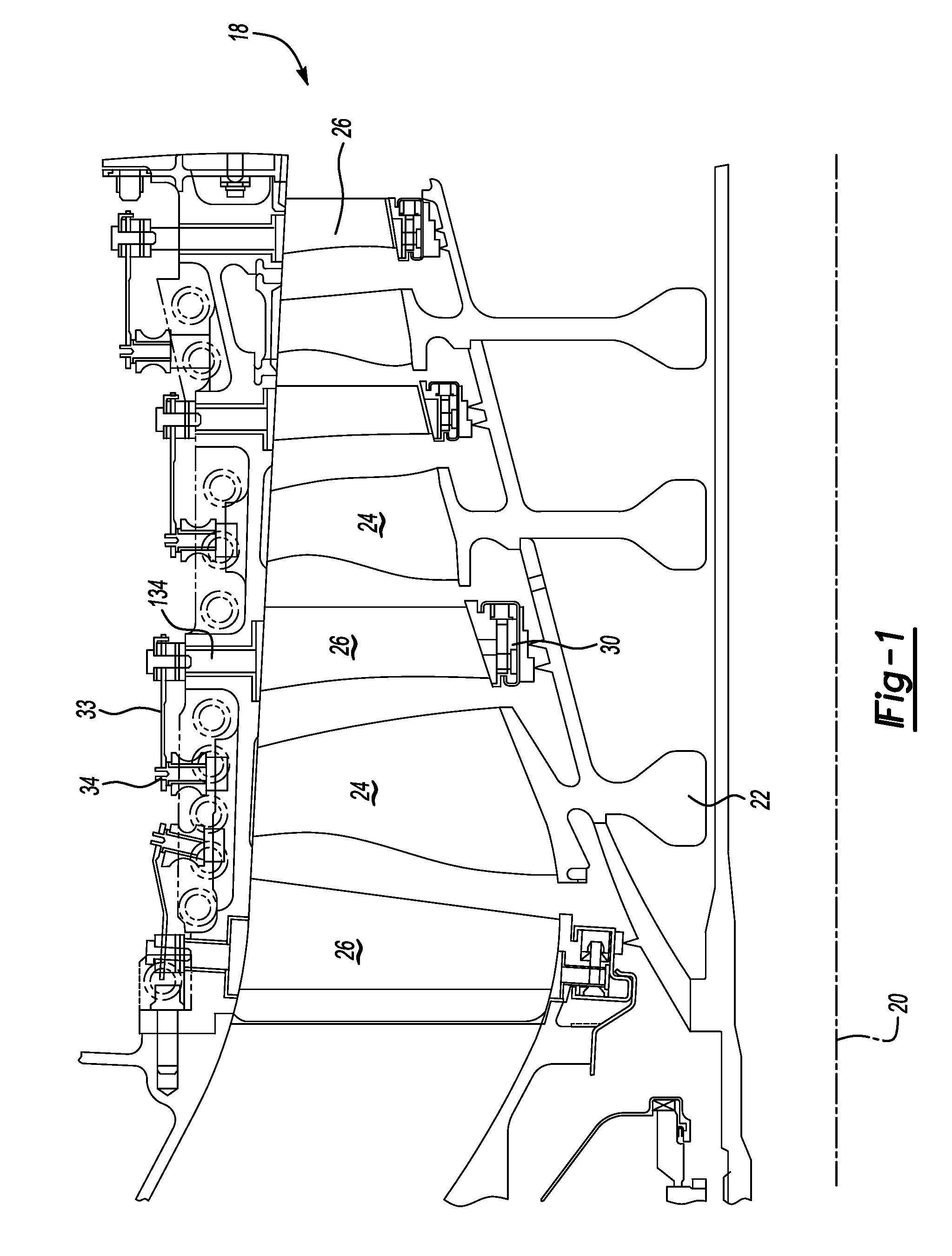 Patent US Small radial profile shroud for variable vane