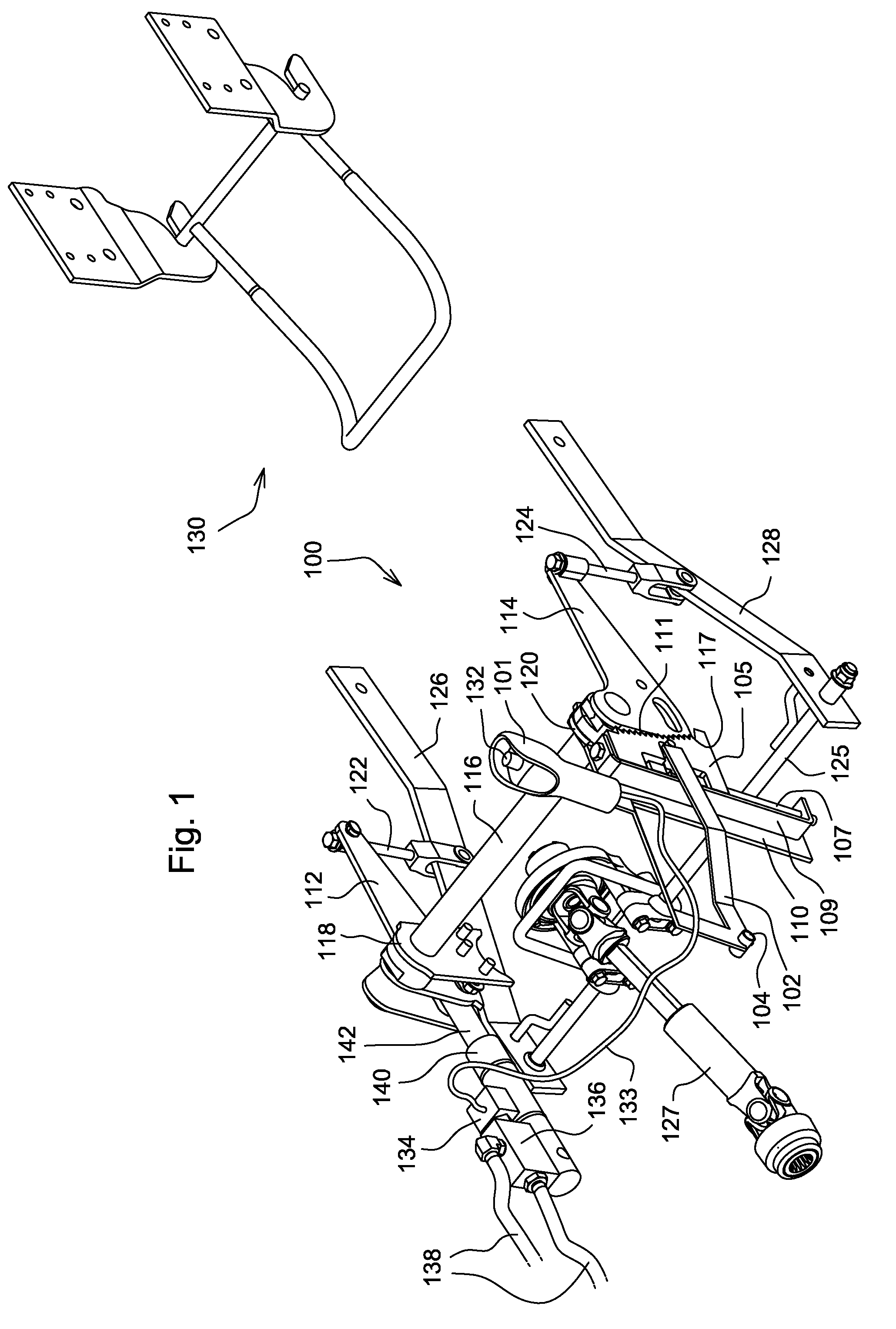 Lever Arm Depth : Patent us single lever mower deck height of cut