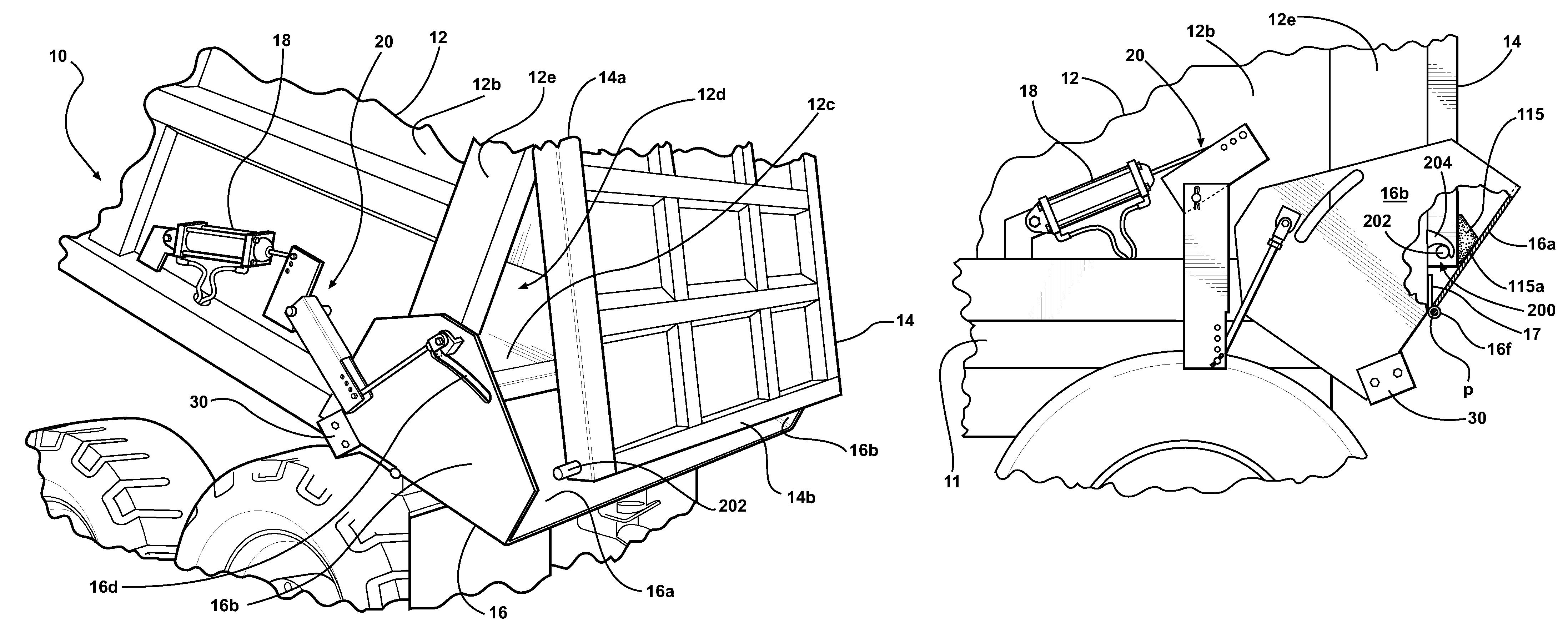 patent us7731297 - tailgate-securing dump apron for dump trucks
