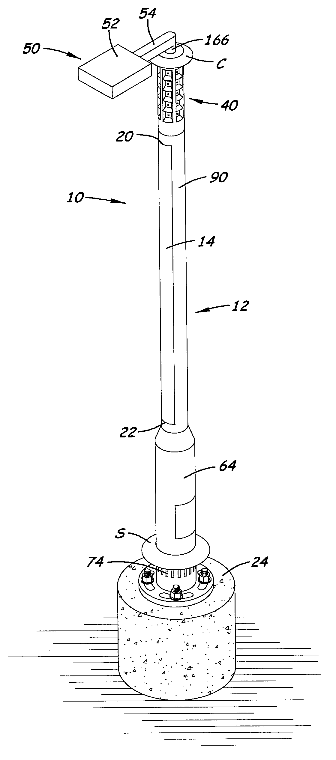 Patent Drawing  sc 1 st  Google & Patent US7731383 - Solar-powered light pole and LED light fixture ... azcodes.com