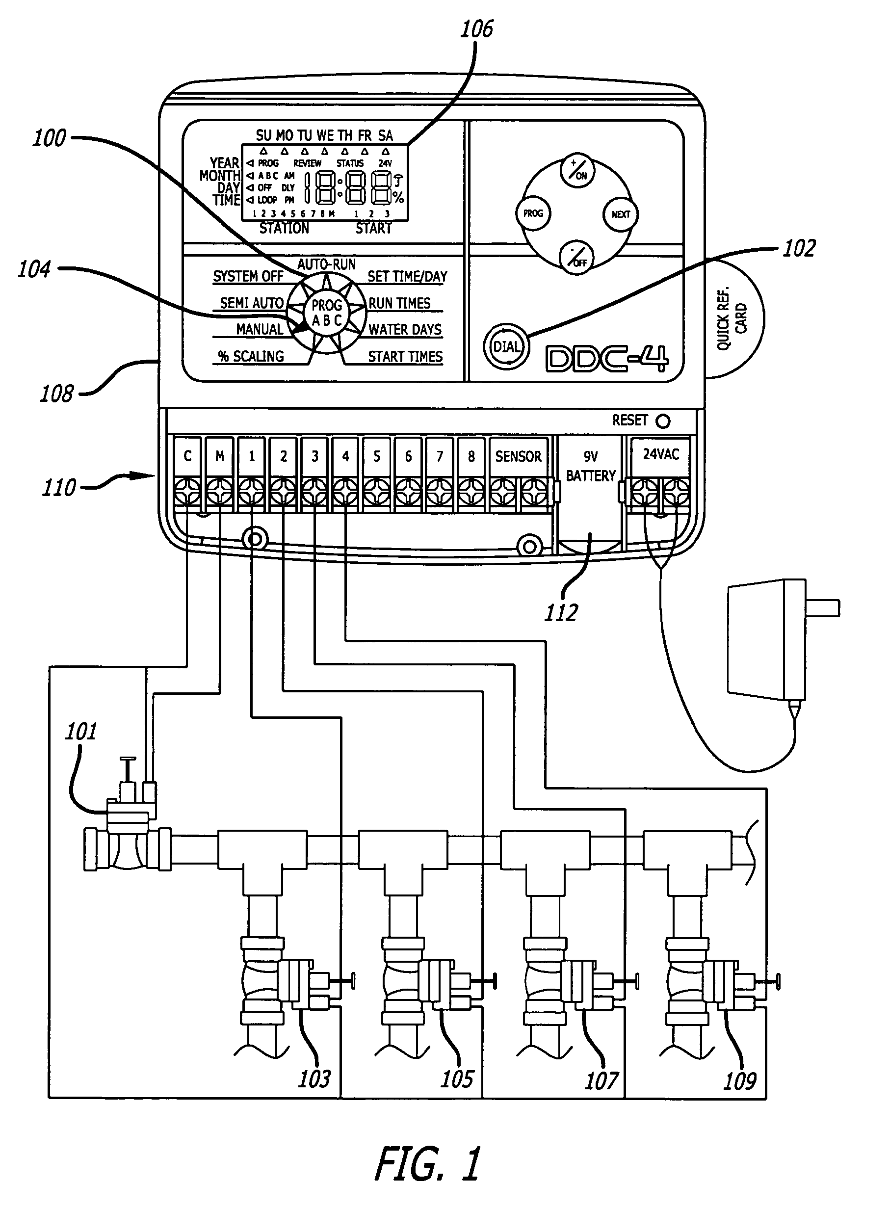 US07761189 20100720 D00001 patent us7761189 virtual dial irrigation controller google patents wiring diagram toro sprinkler control at crackthecode.co