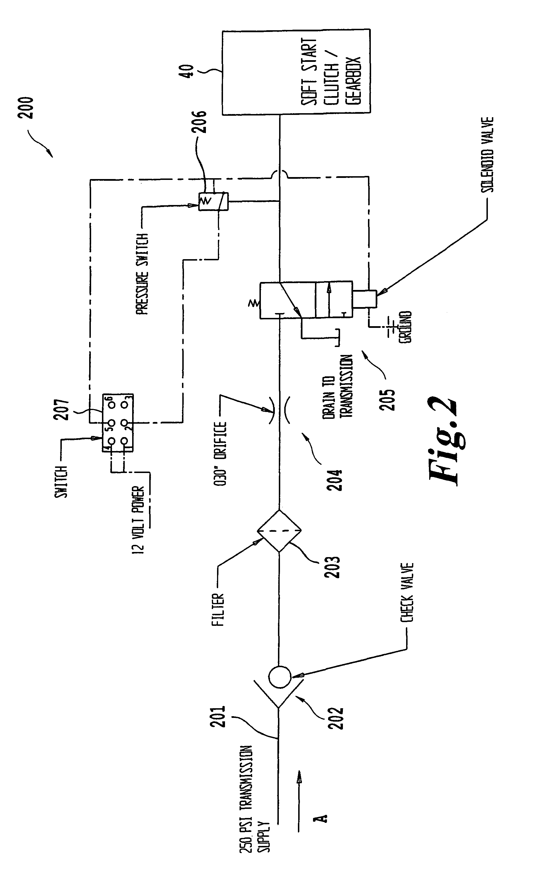US07766105 20100803 D00003 patent us7766105 system and method of implementing a soft start PTO Switch Wiring Diagram for Massey Furgeson at panicattacktreatment.co