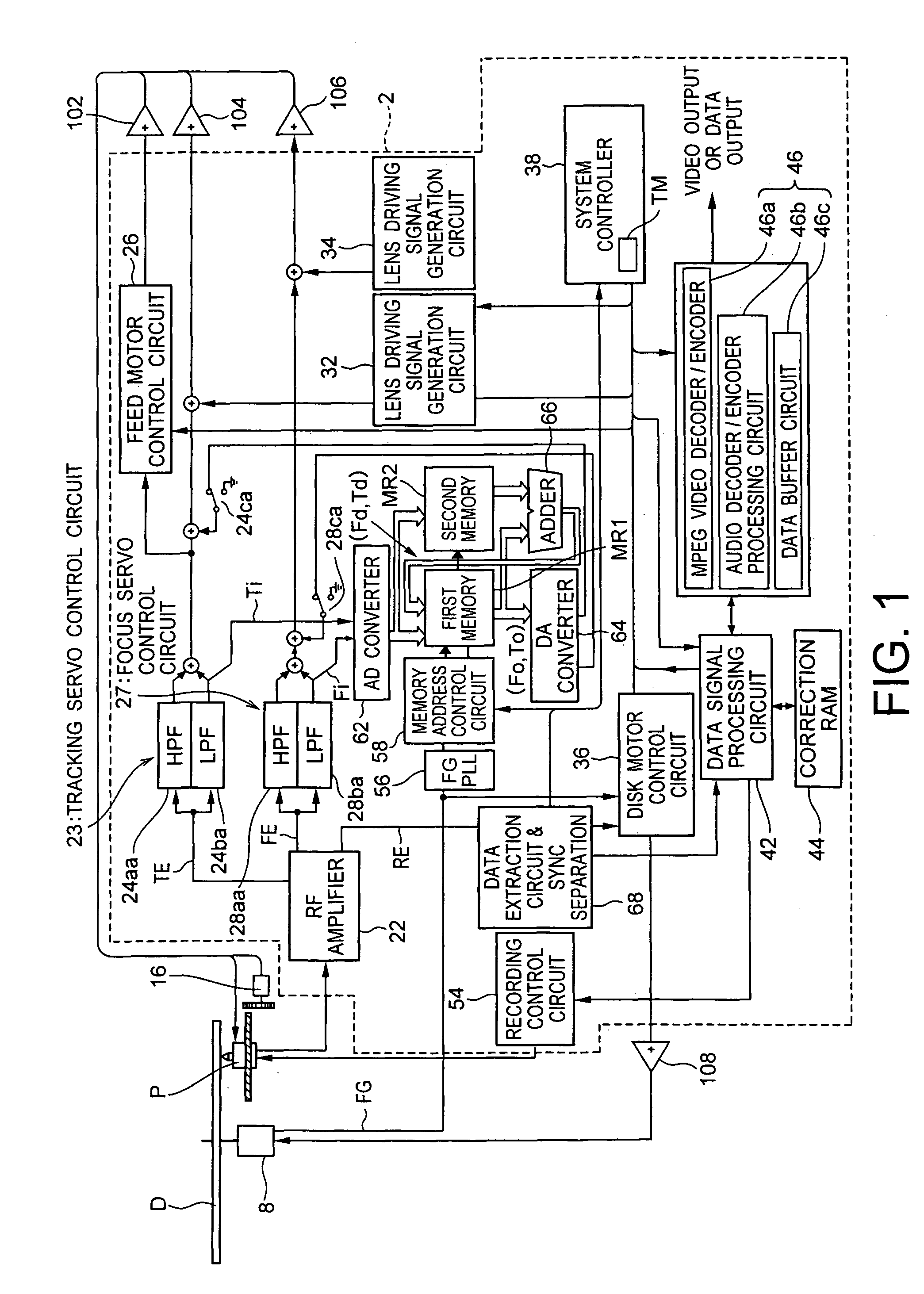 Patent Us7773470 Pickup Control Device Optical Disk Apparatus And Circuit Diagram For Dvd Servo Drawing