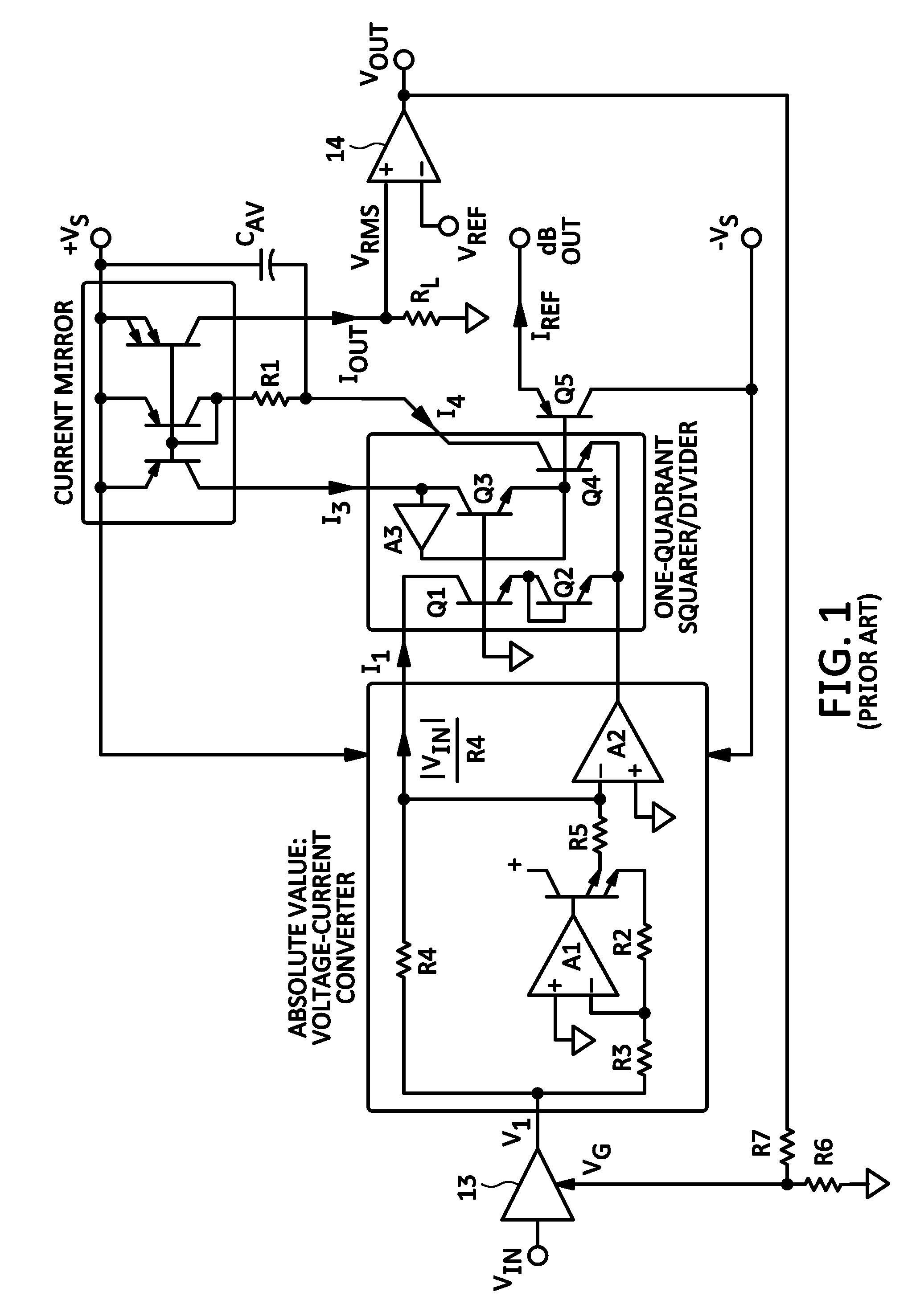 Patent Us7777552 Logarithmic Amplifier With Rms Post Processing Precision Rectifier Voltagetocurrent Converter Drawing