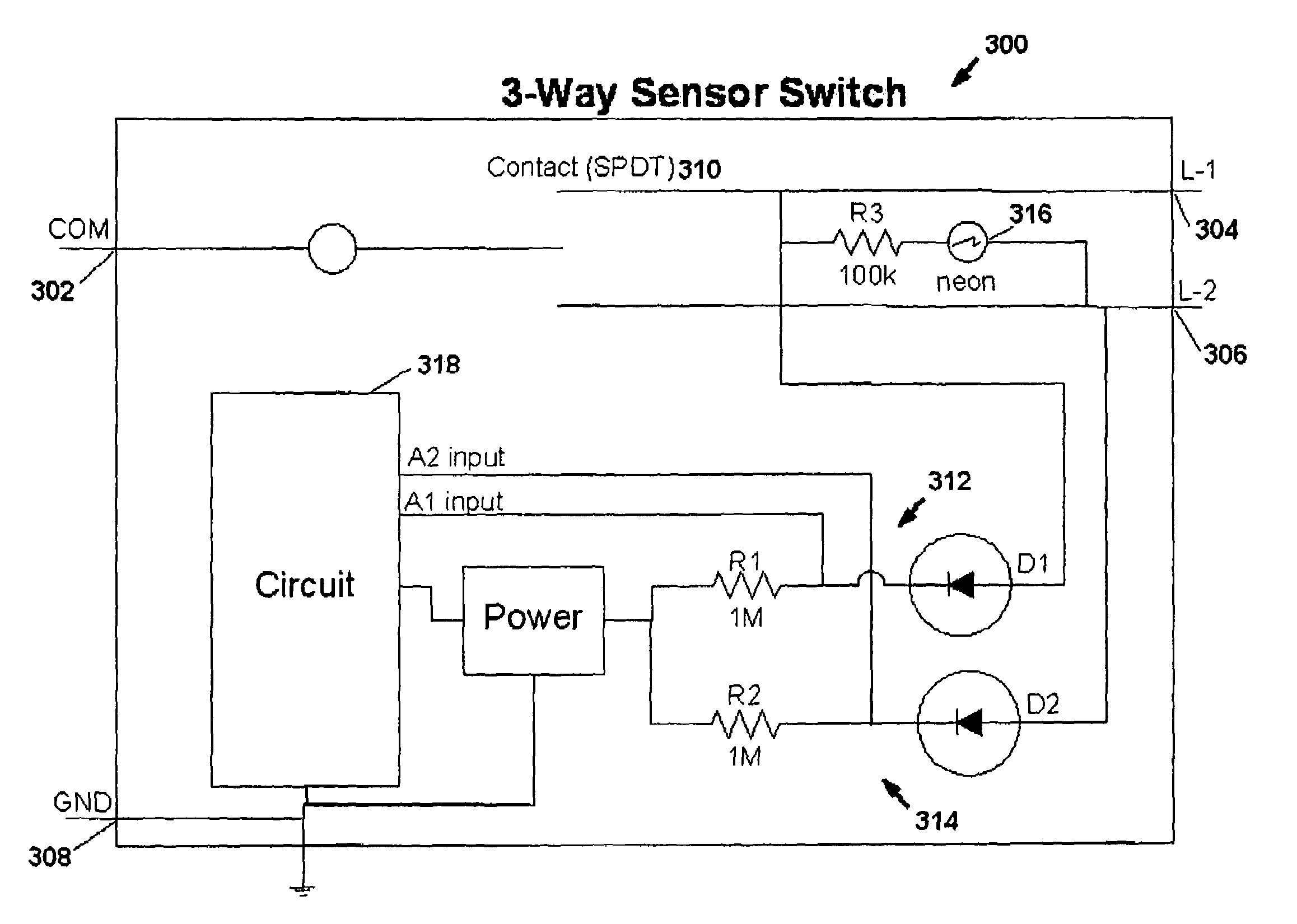 US07791282 20100907 D00000 patent us7791282 motion sensor switch for 3 way light circuit 3-Way Switch Wiring Diagram Variations at webbmarketing.co