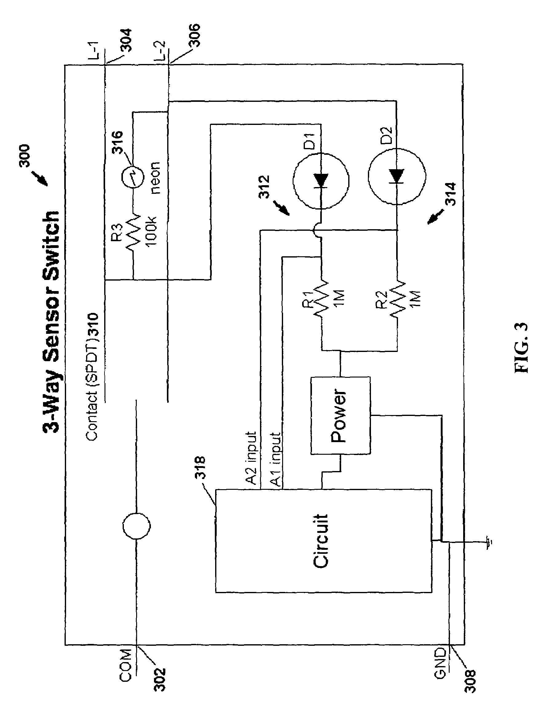US07791282 20100907 D00003 patent us7791282 motion sensor switch for 3 way light circuit Bobcat Skid Steer Electrical Diagrams at gsmx.co