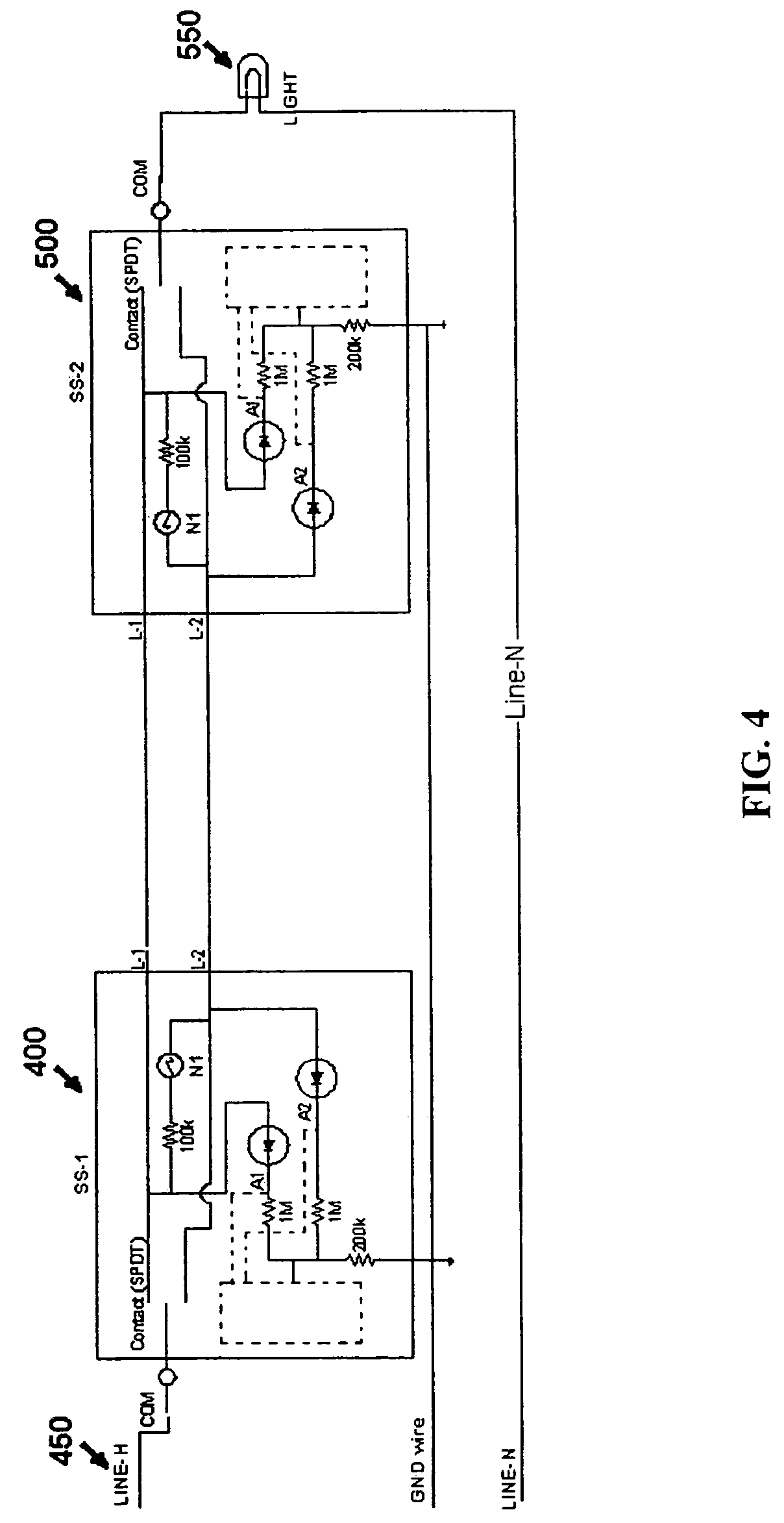 US07791282 20100907 D00004 patent us7791282 motion sensor switch for 3 way light circuit presence detector wiring diagram at crackthecode.co