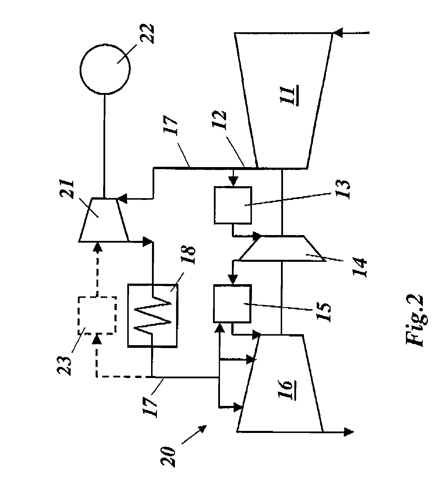 Patent US Gas turbine with heat exchanger for cooling
