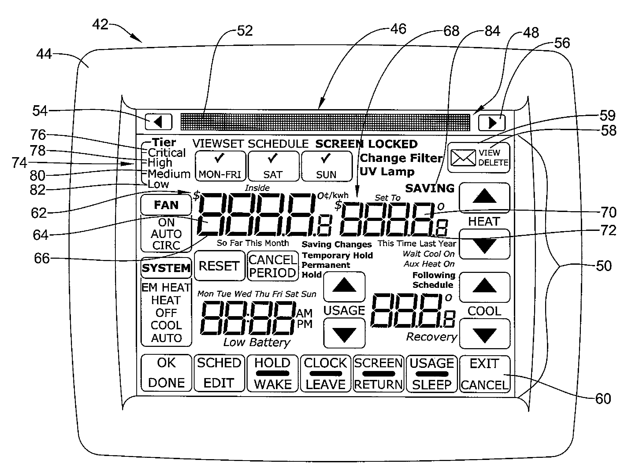 US07845576 20101207 D00000 patent us7845576 thermostat with fixed segment display having honeywell utility pro thermostat wiring diagram at gsmx.co