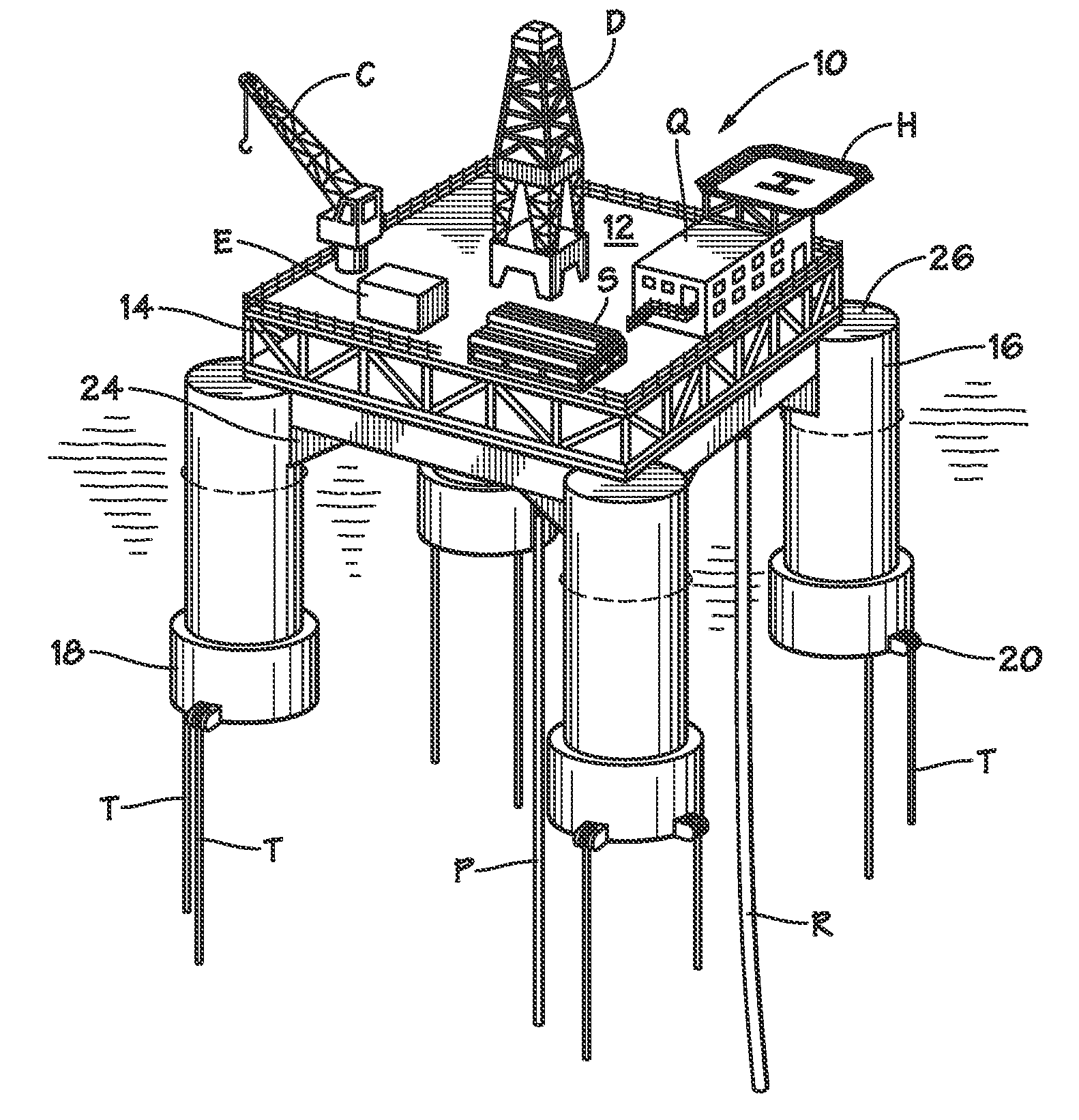Patent US7854570 - Pontoonless tension leg platform ...