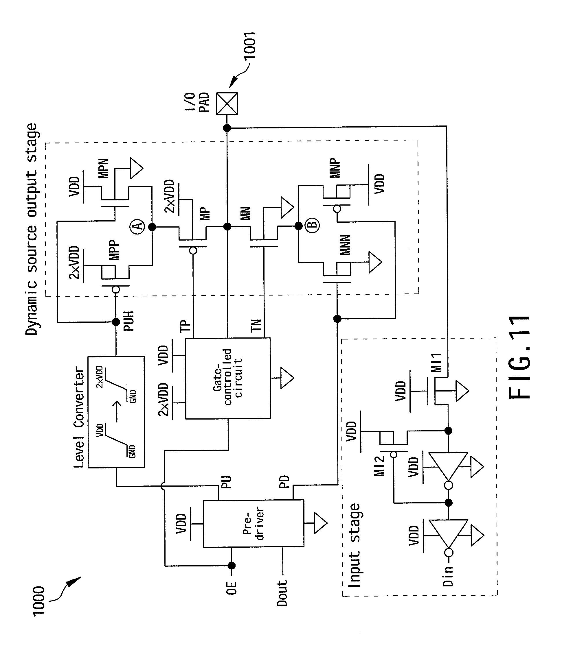 patent us7915914 2 vdd tolerant logic circuits and a related 2 vdd Nor Gate Truth Table patent drawing