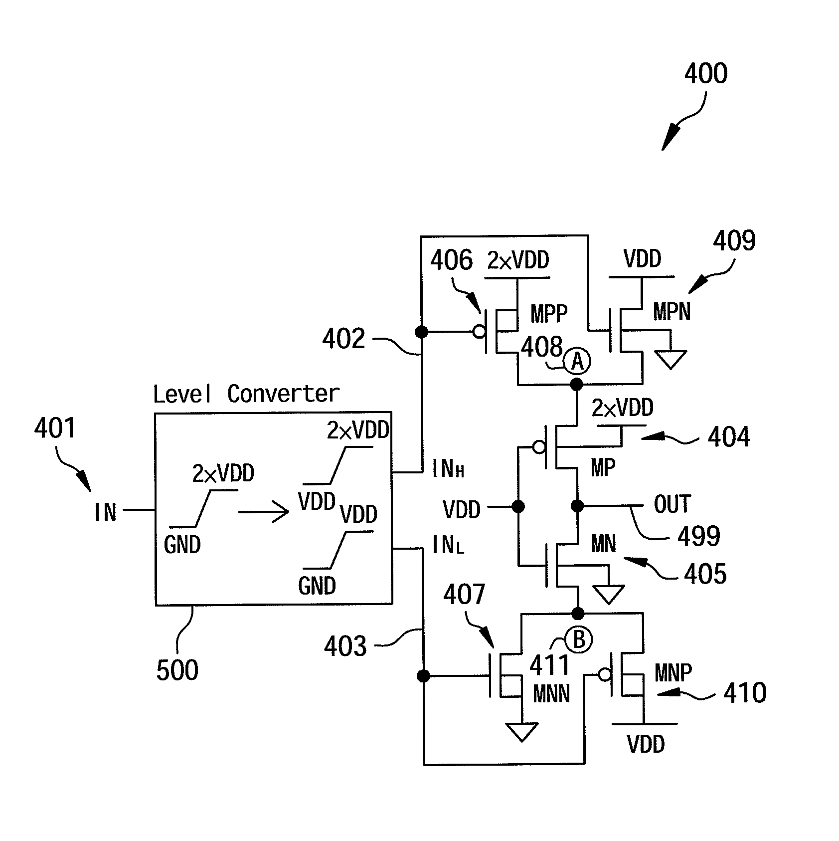 Patent Us7932748 2vdd Tolerant Logic Circuits And A Related Drawing