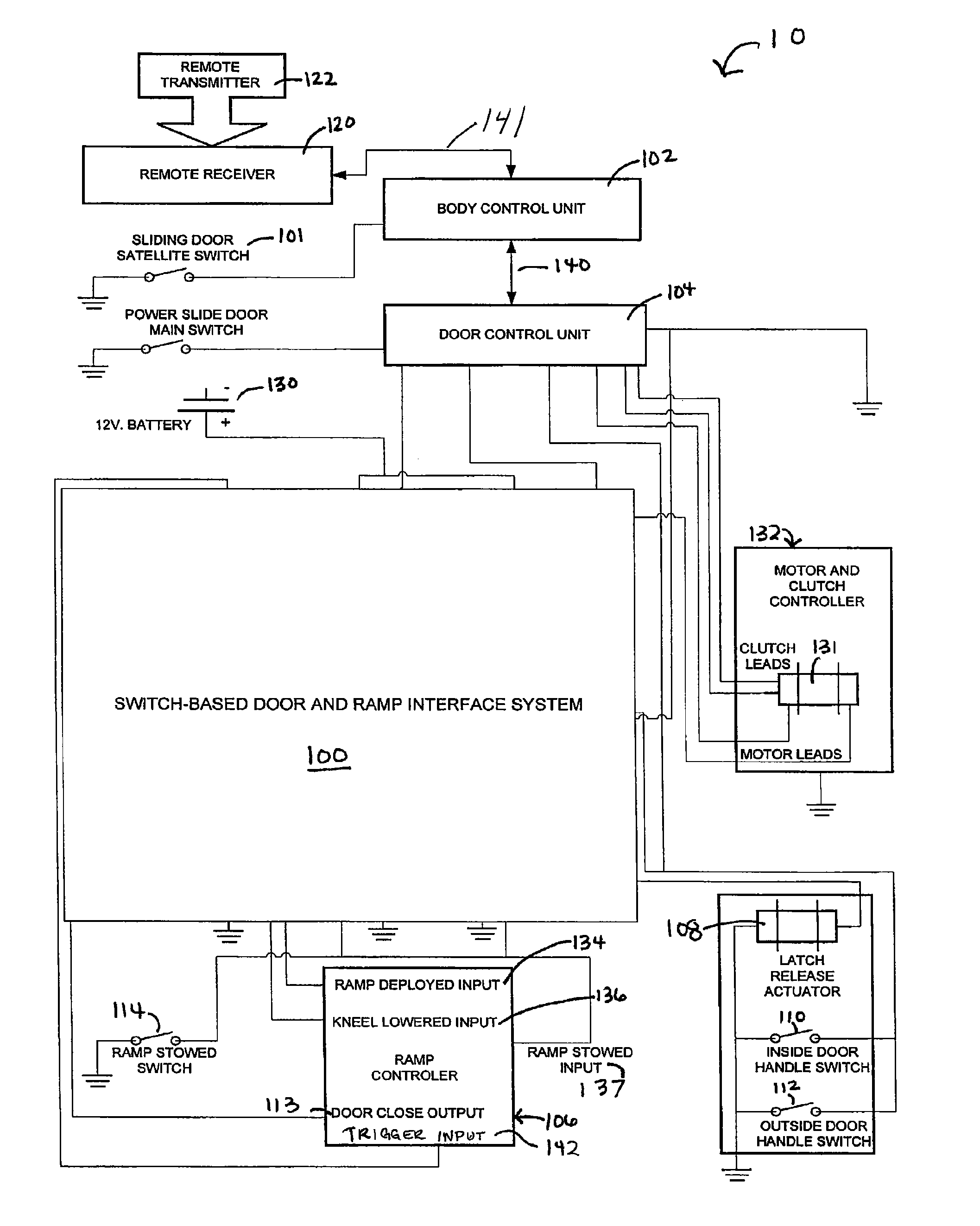 patent us7960853 switch based door and ramp interface system patent drawing