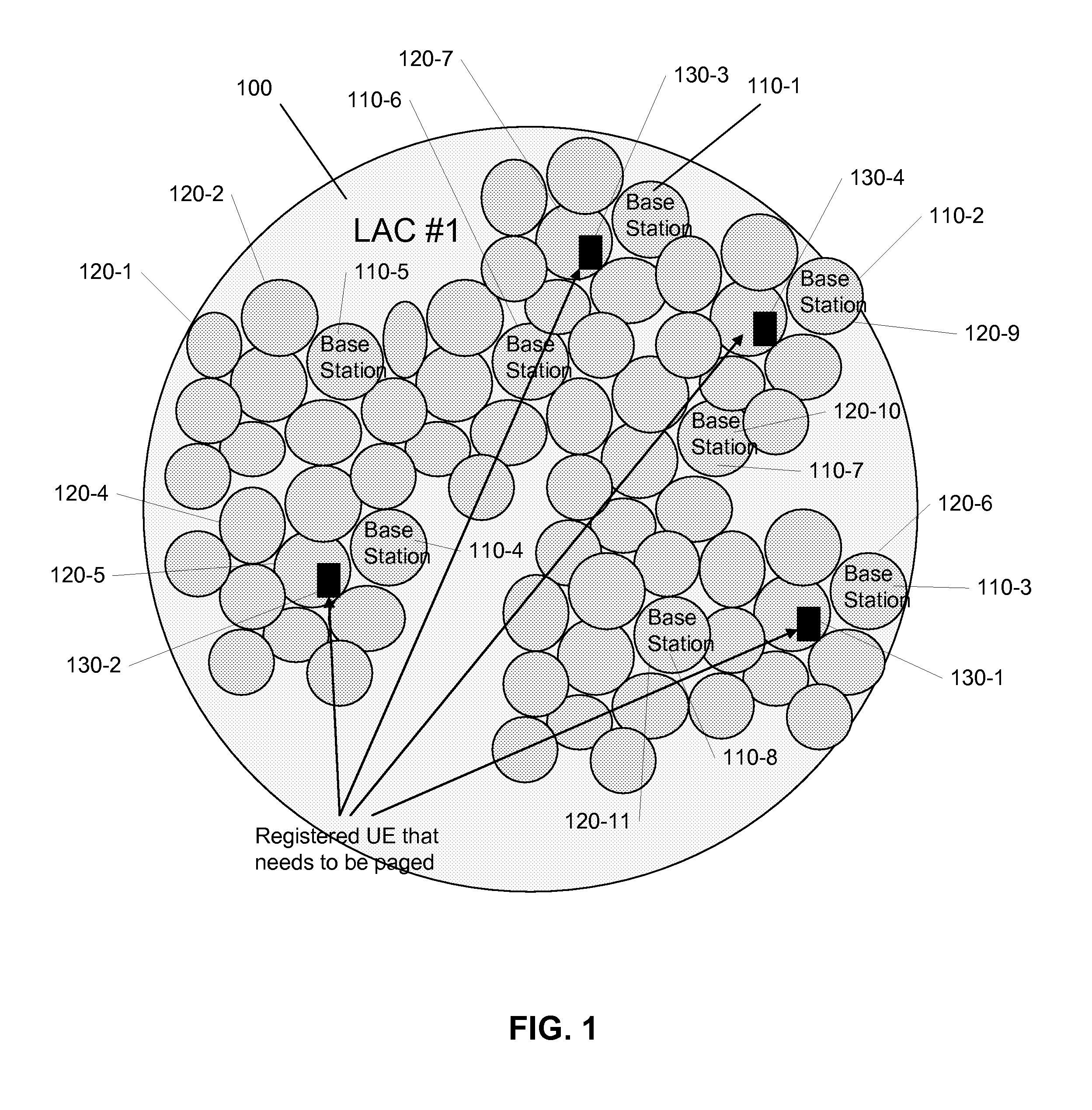 Patent US7974645  Mobile registration using a service area