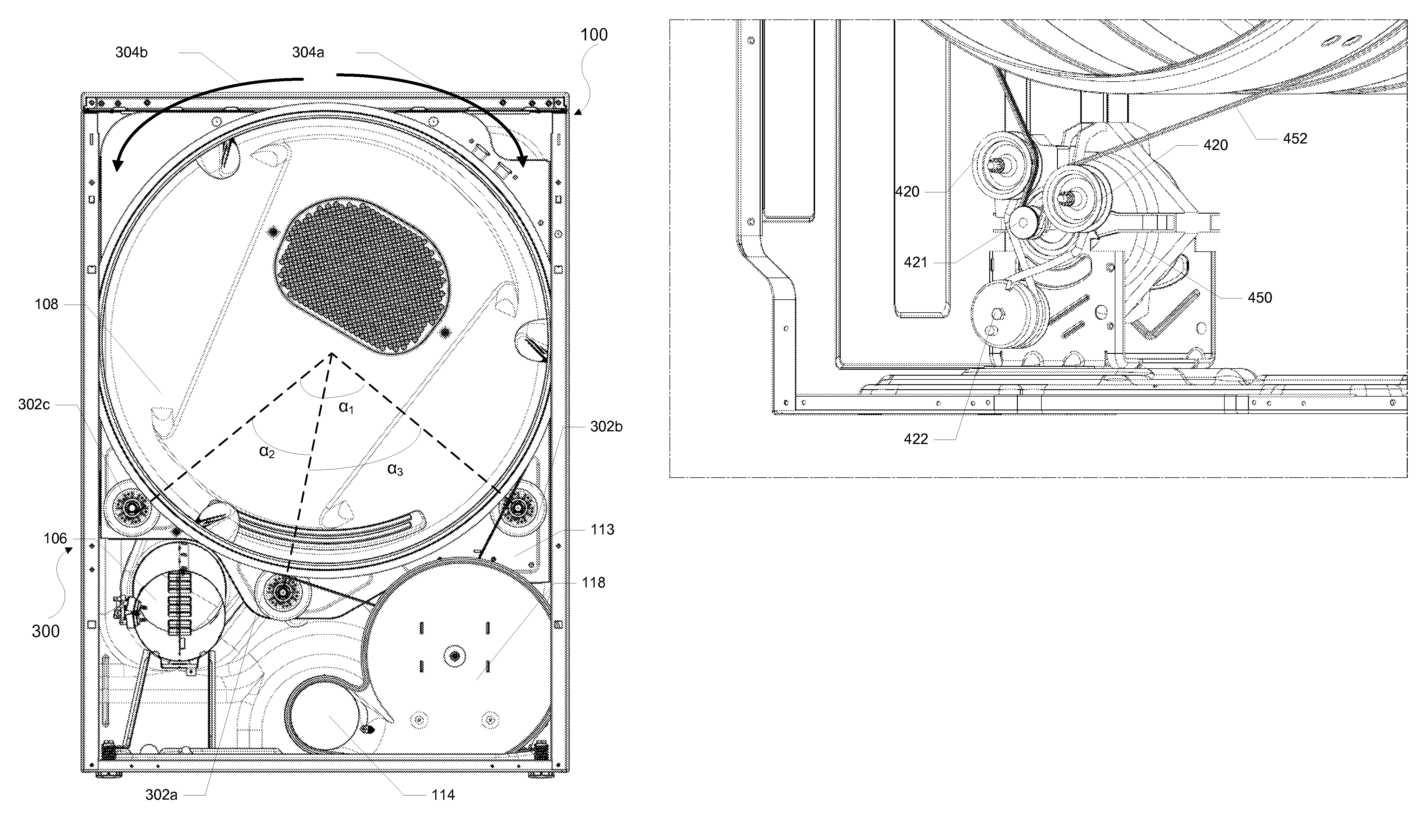 patent us7992321 laundry dryer having three roller drum support patent drawing