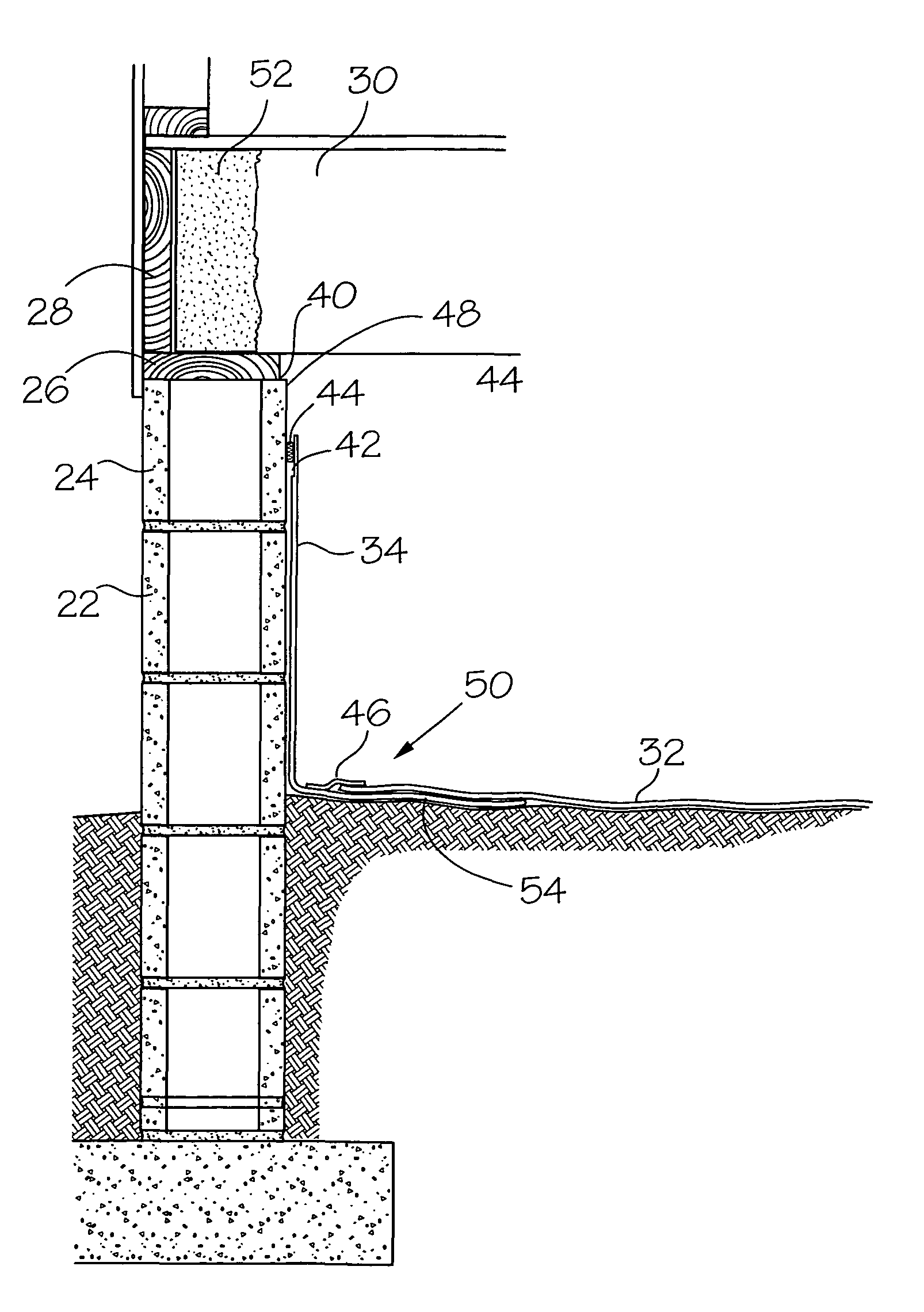 Patent us8007205 foundation wall vapor barrier system for Fireproof vapor barrier